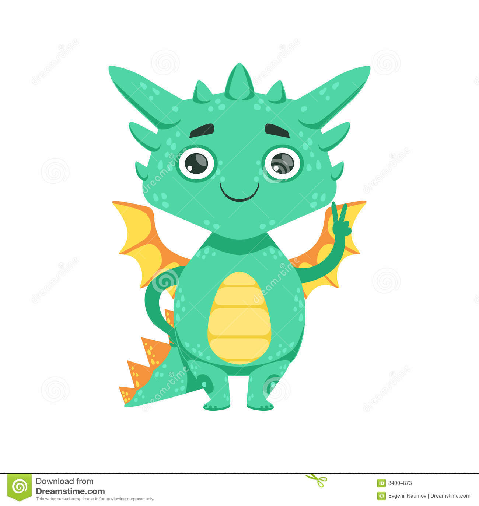 Weinig Anime-van het het Gebaarbeeldverhaal van Dragon Smiling And Showing Peace van de Stijlbaby Illustratie van het Karakteremo