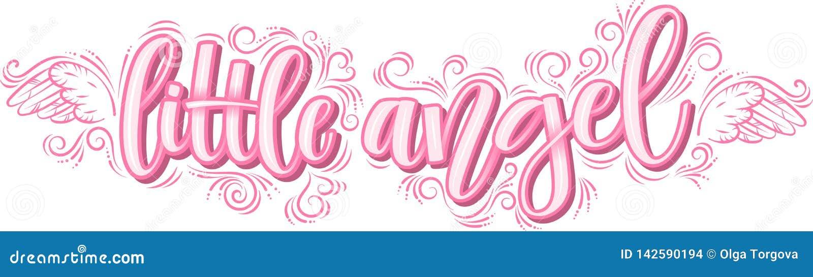 Weinig Engel het van letters voorzien in roze inschrijving die op witte achtergrond wordt geïsoleerd