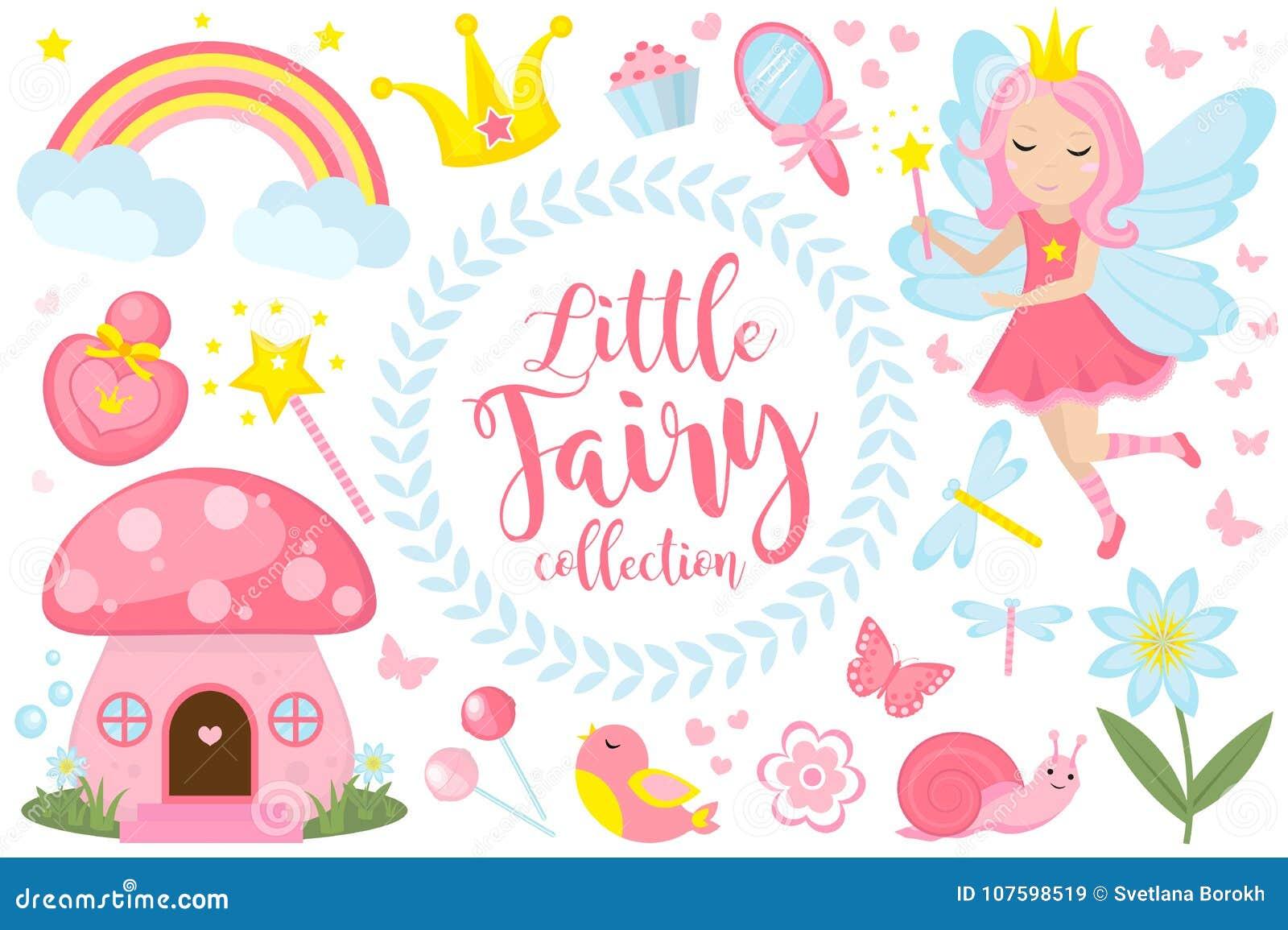 Weinig feereeks, beeldverhaalstijl Leuke en mystieke inzameling voor meisjes met fairytale bosprinses, toverstokje