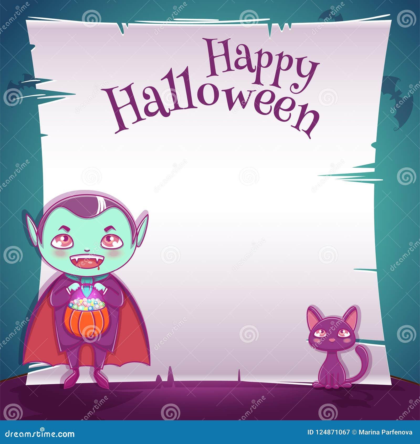 Weinig jong geitje in kostuum van vampier met zwart katje Gelukkige Halloween-partij Editablemalplaatje met tekstruimte