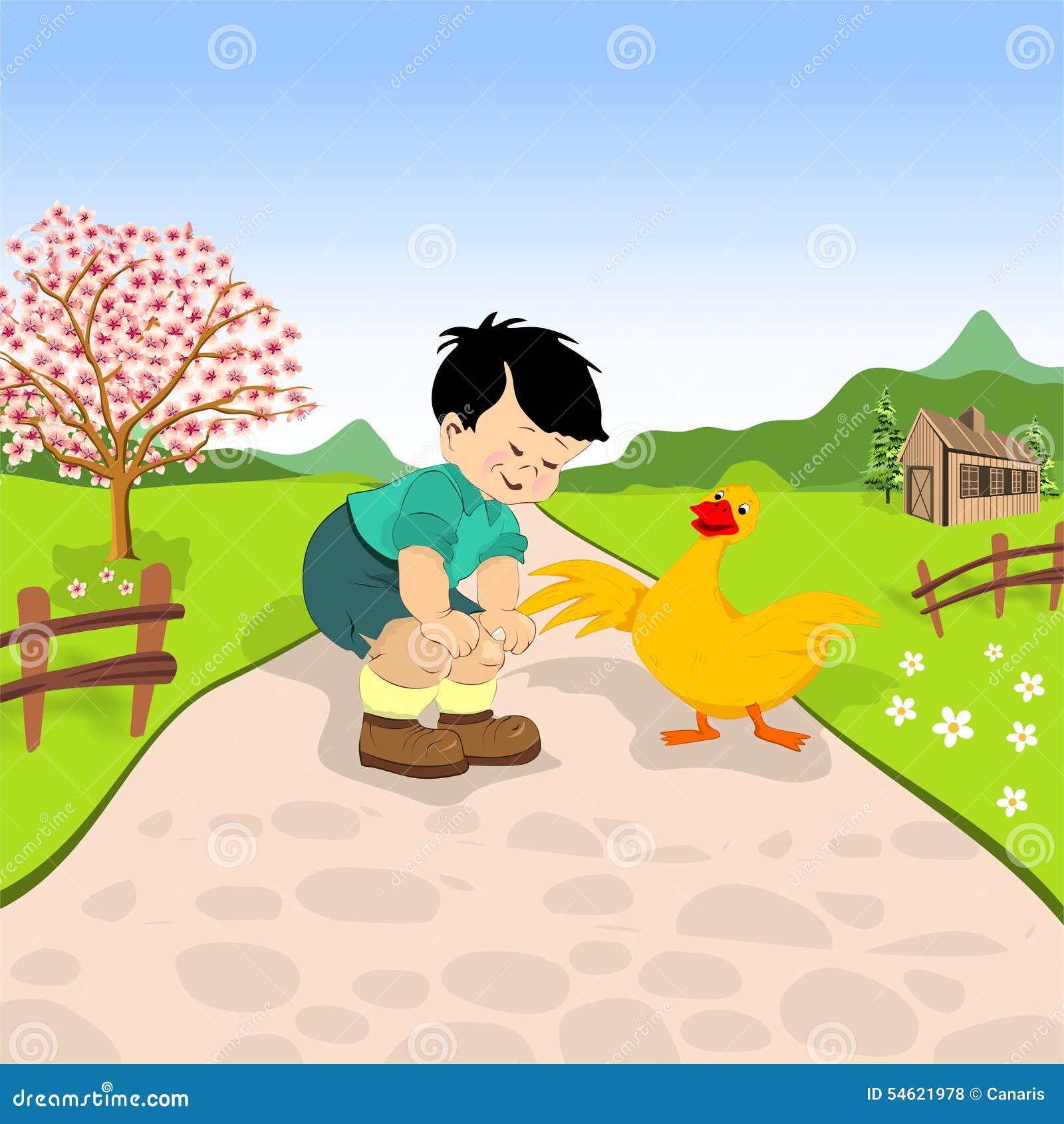 Weinig jongen en eend