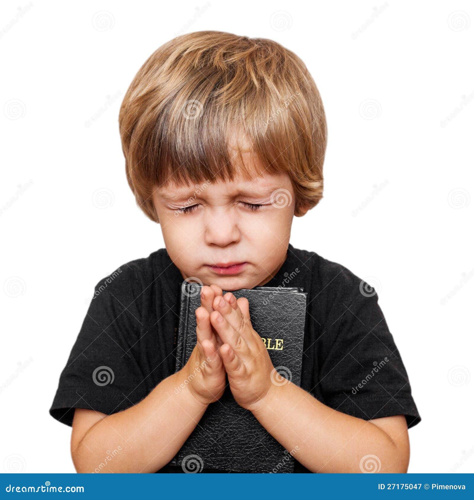 Weinig jongen het bidden