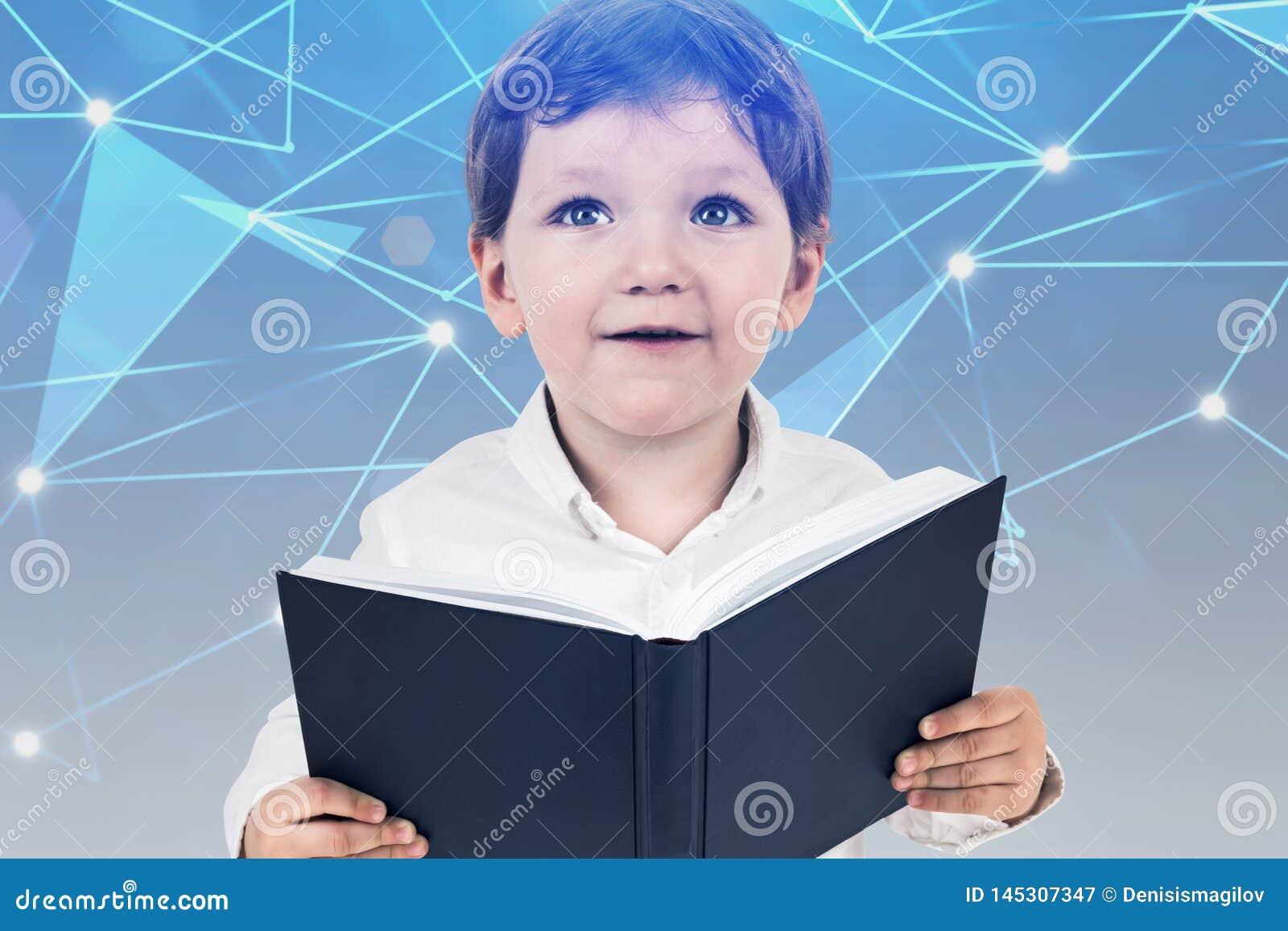 Weinig jongen met boek, digitaal onderwijsconcept
