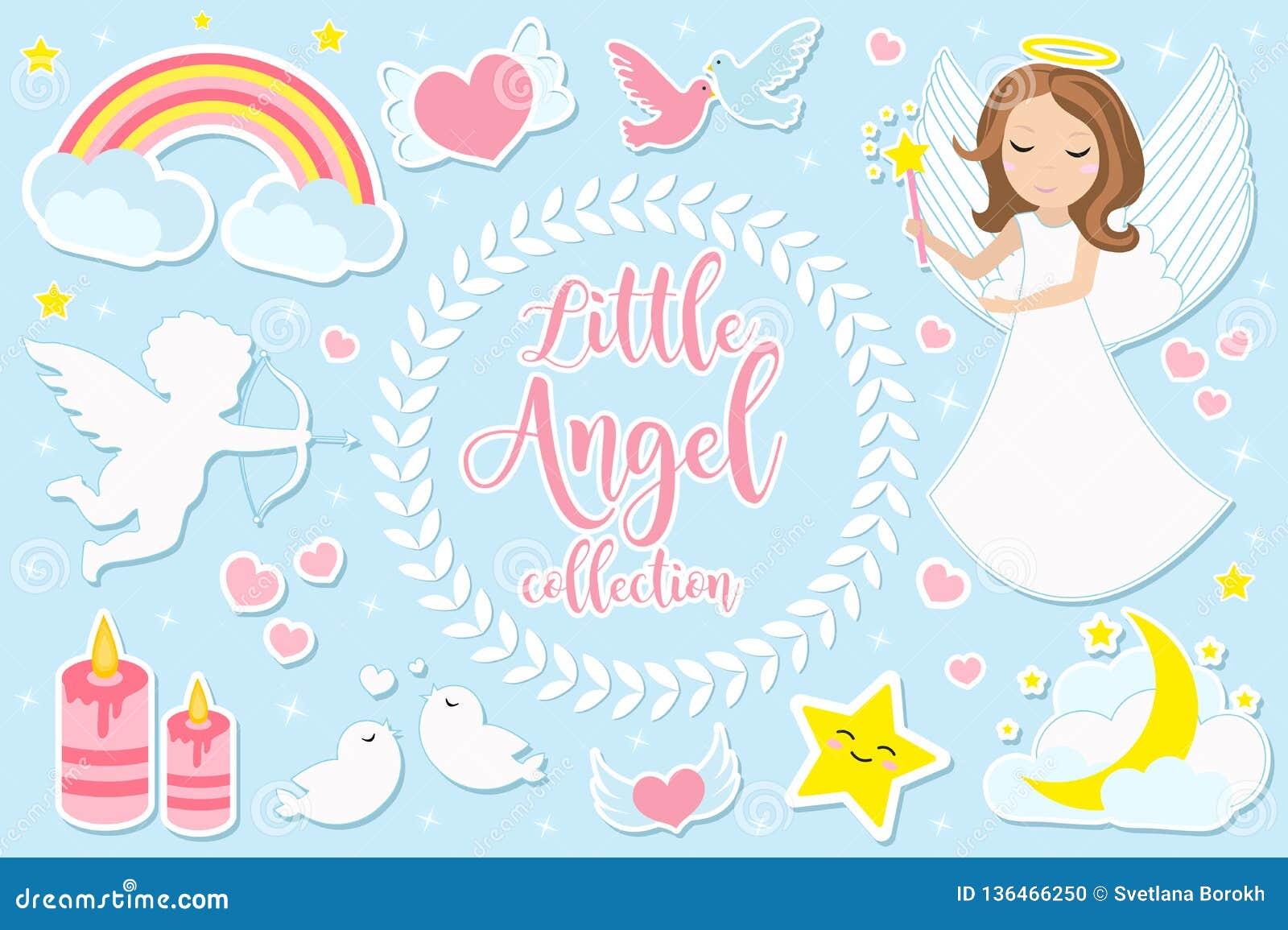 Weinig karakter van het engelenmeisje - reeks voorwerpen Inzameling van ontwerpelement met engelen, cupido, wolken, harten, duive