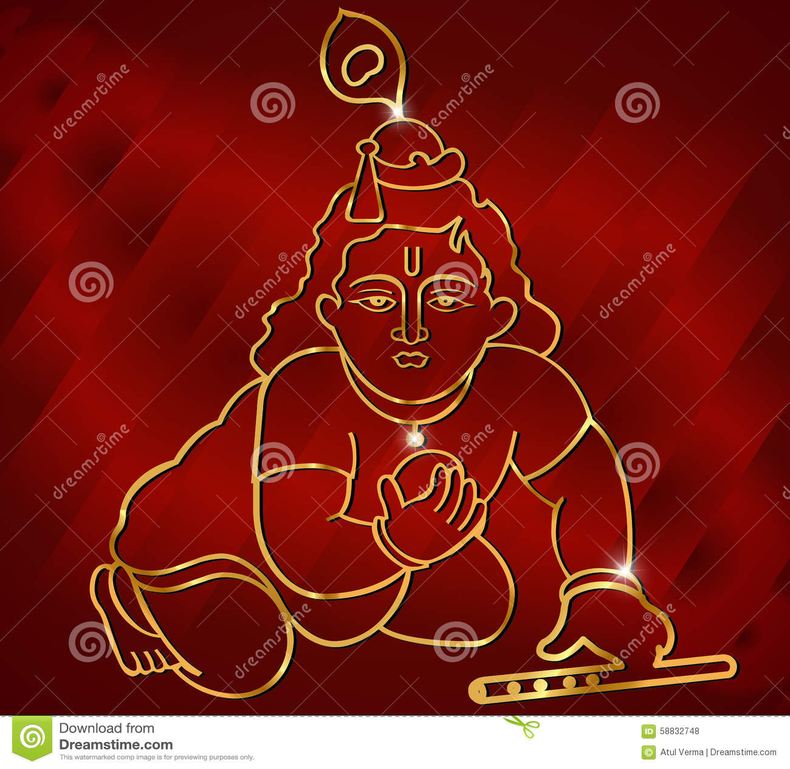 Weinig Krishna met fluit, het Hindoese kunstwerk van godskrishna op rode satijnachtergrond