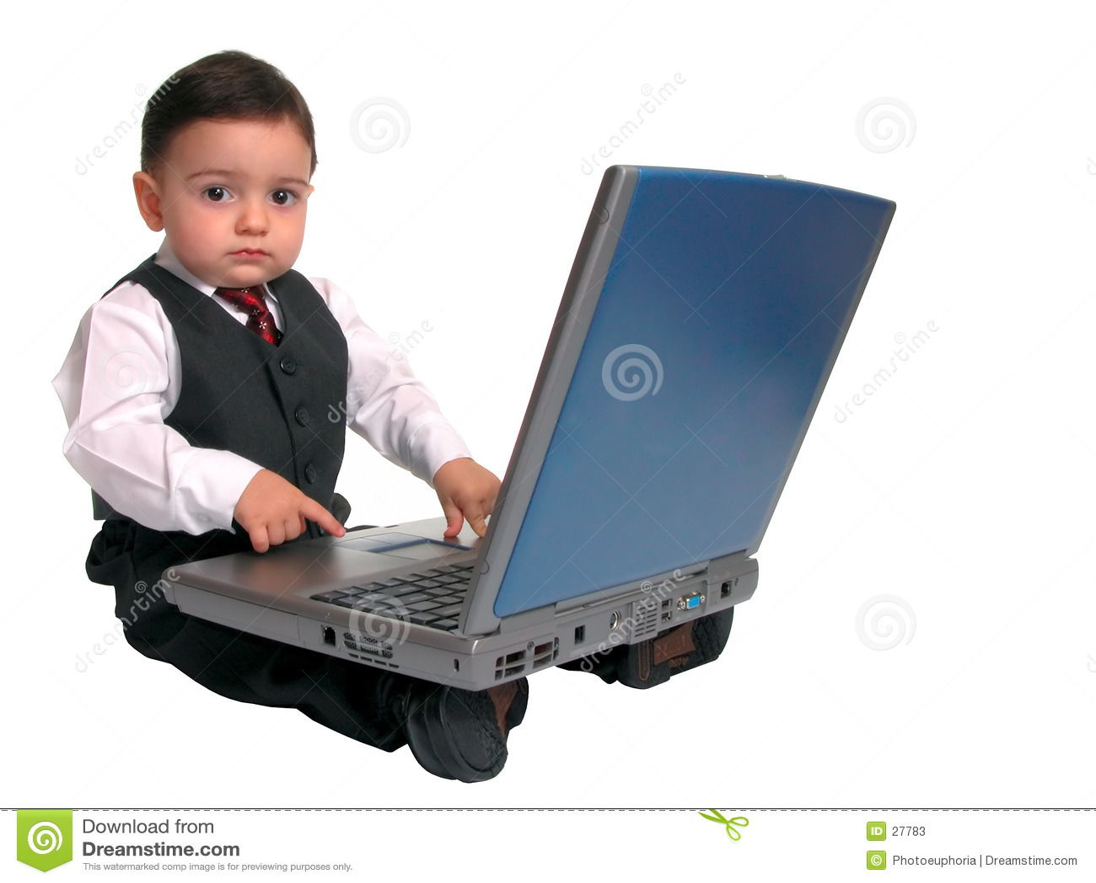 Weinig Reeks van de Mens: Het kijken omhoog van Laptop