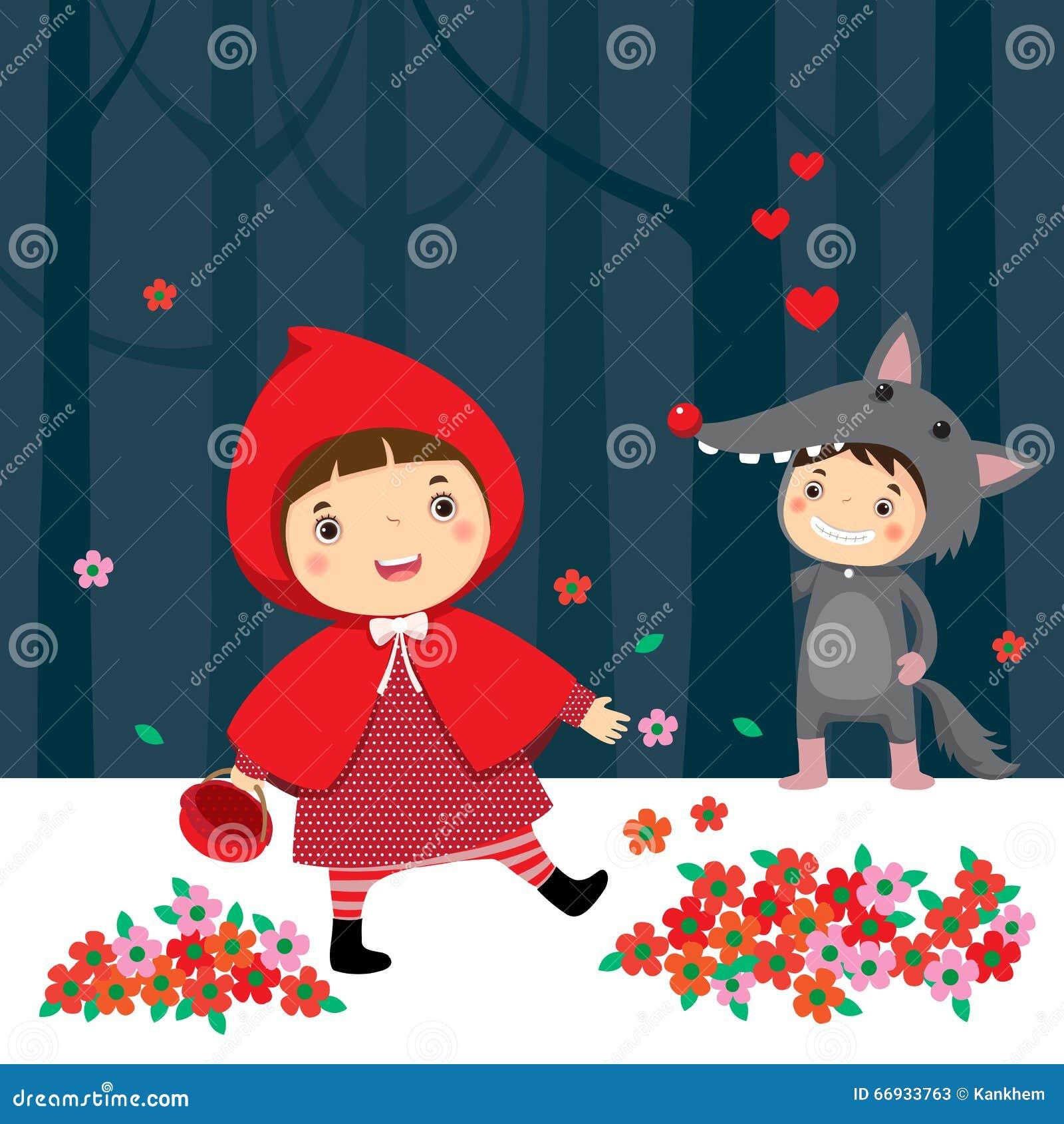Weinig rode berijdende kap en grijze wolf