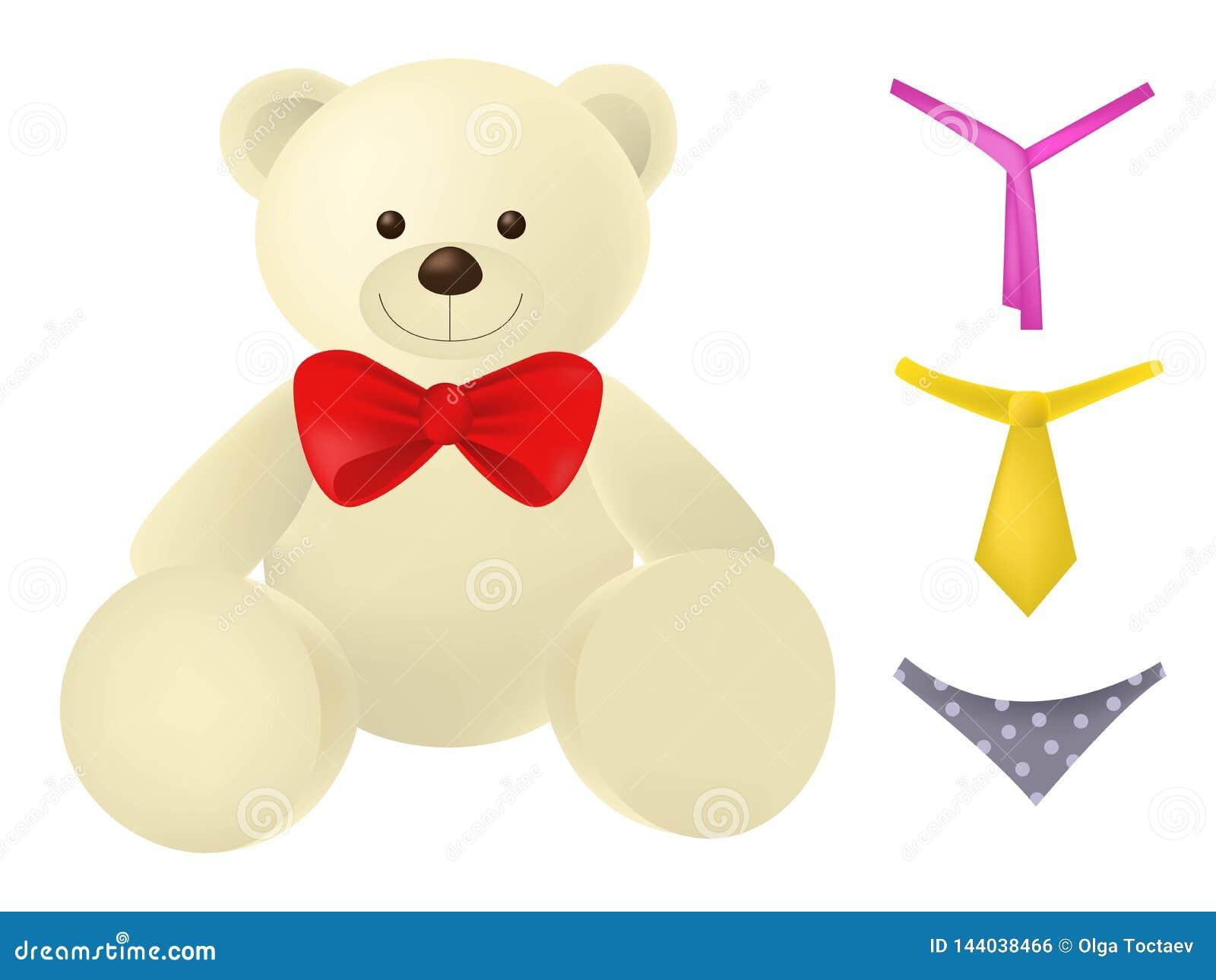 Weinig teddybeerkarakter met verschillende toebehoren dat op witte achtergrond wordt geïsoleerd