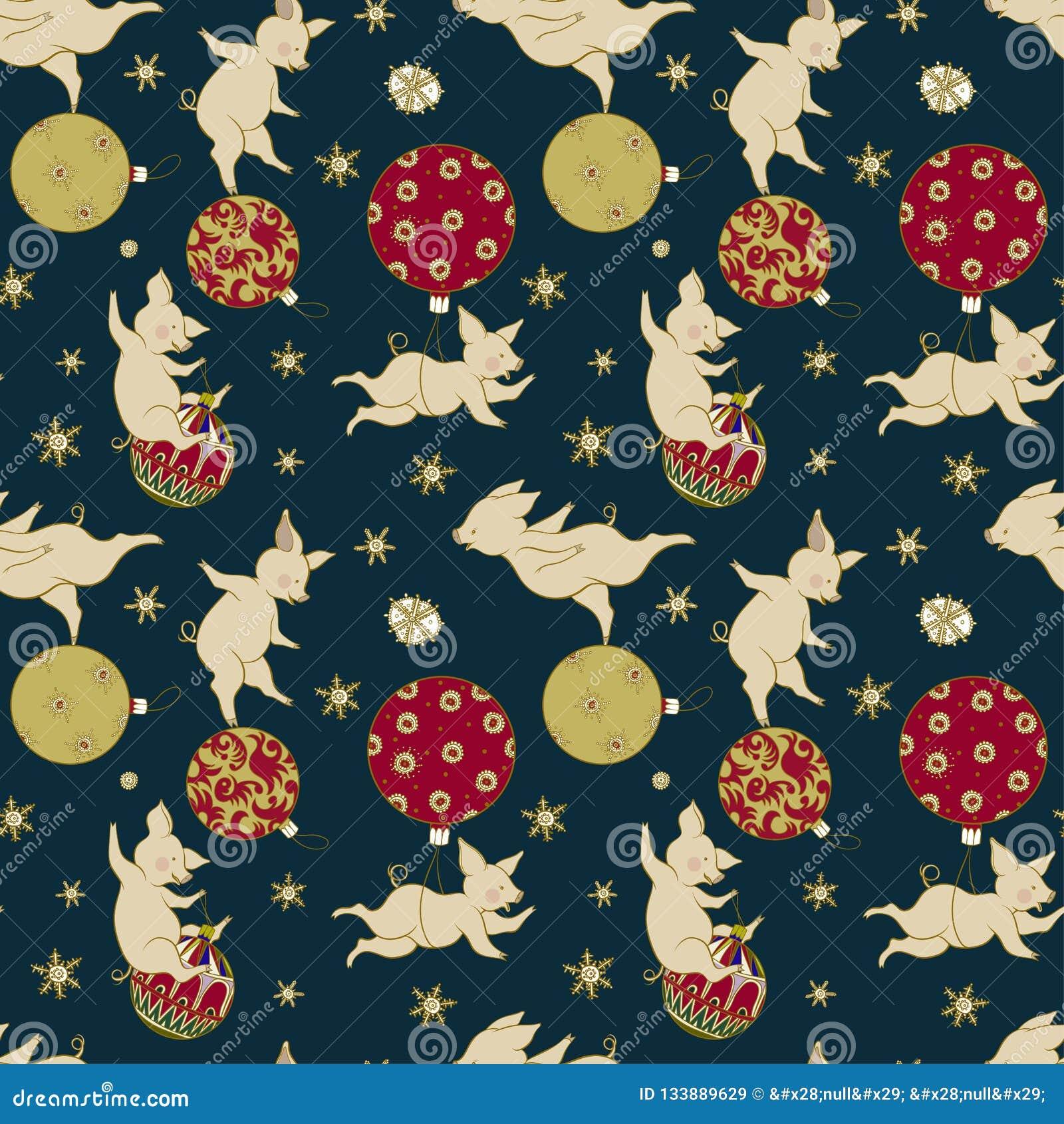 Weinig vrolijke varkensspelen met Kerstboomdecoratie, Kerstmisillustratie