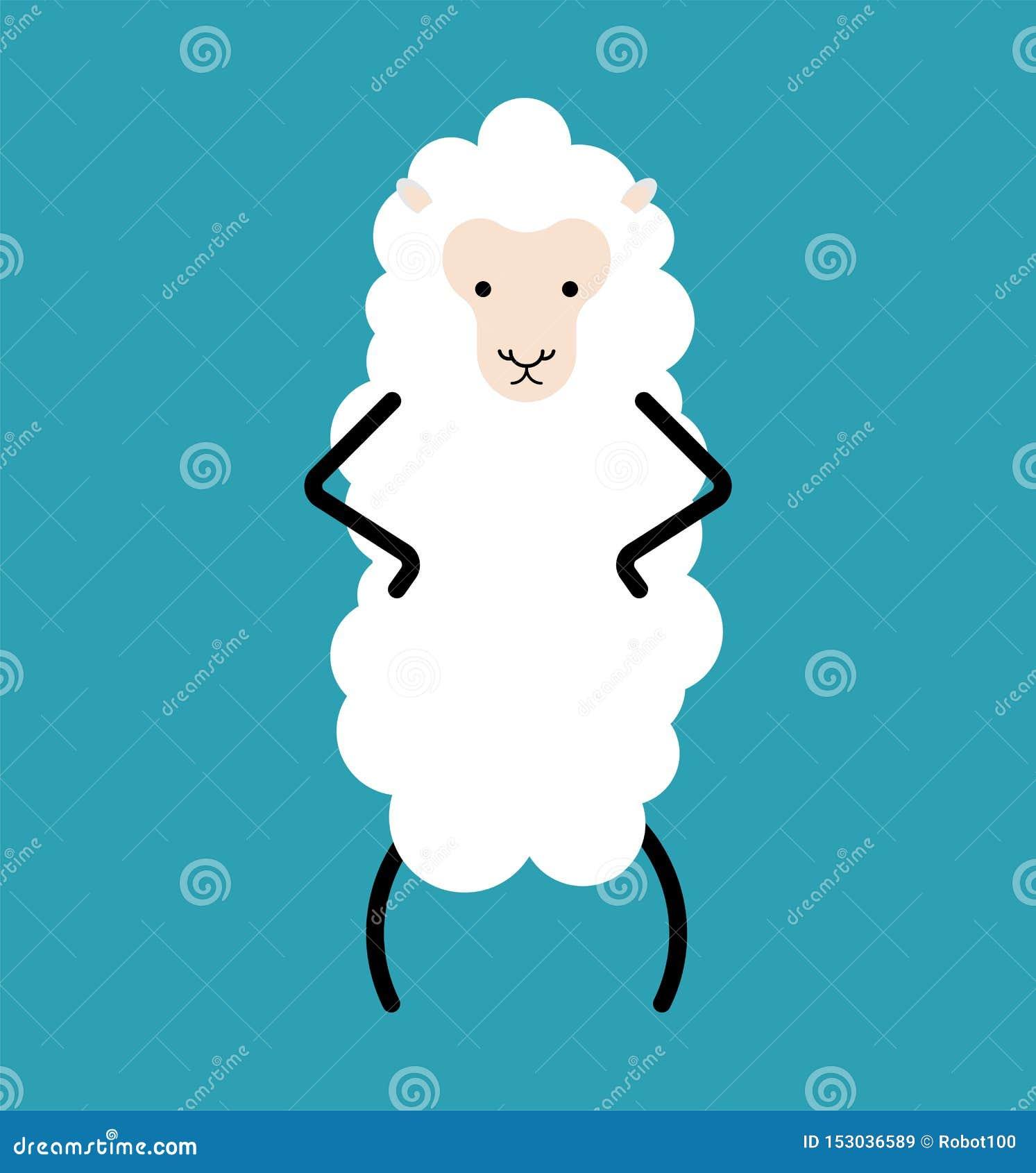 Weinig Wit geïsoleerd schaap Landbouwbedrijf dierlijke vectorillustratie