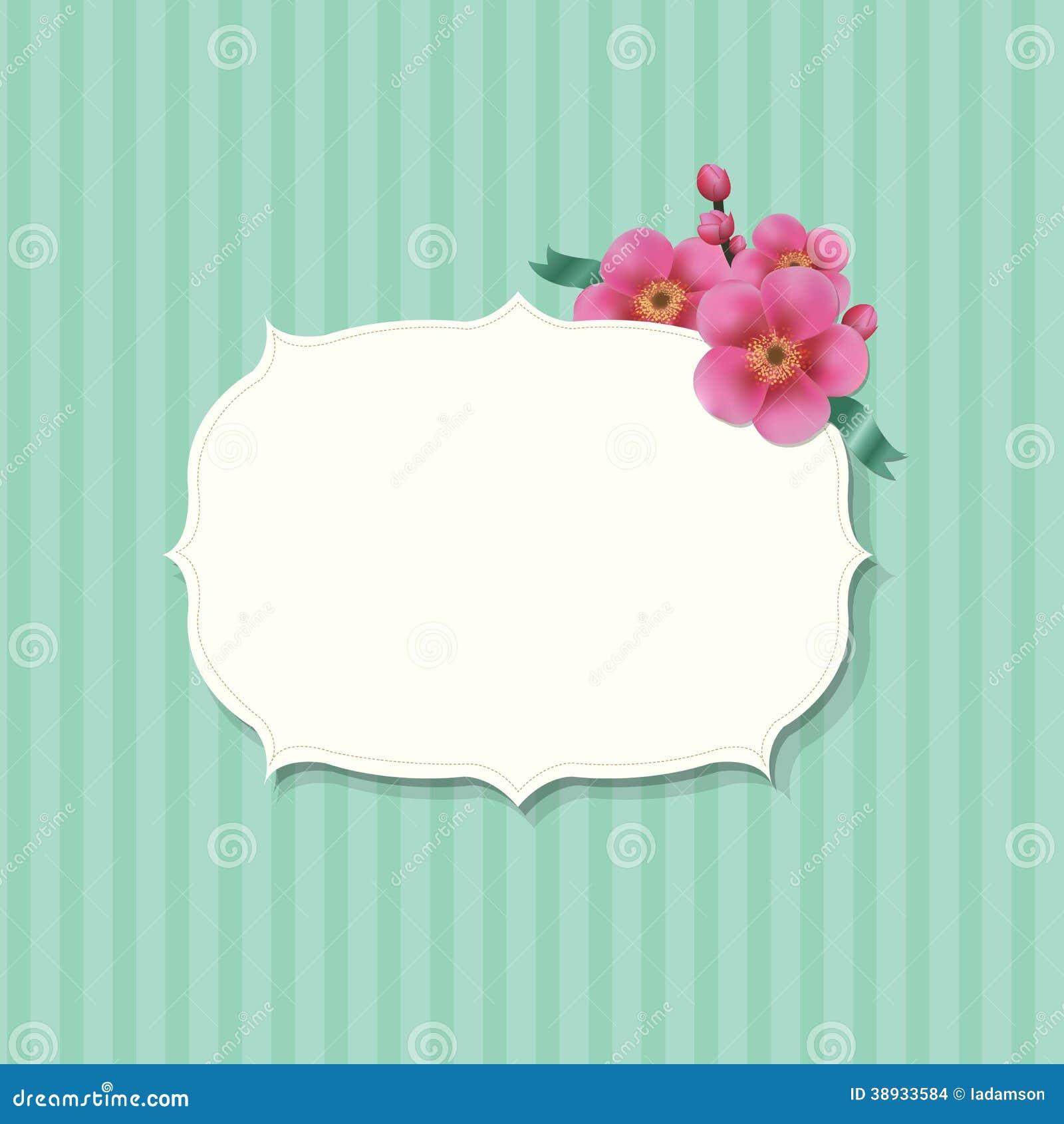 Weinlese-Aufkleber mit Sakura Flowers