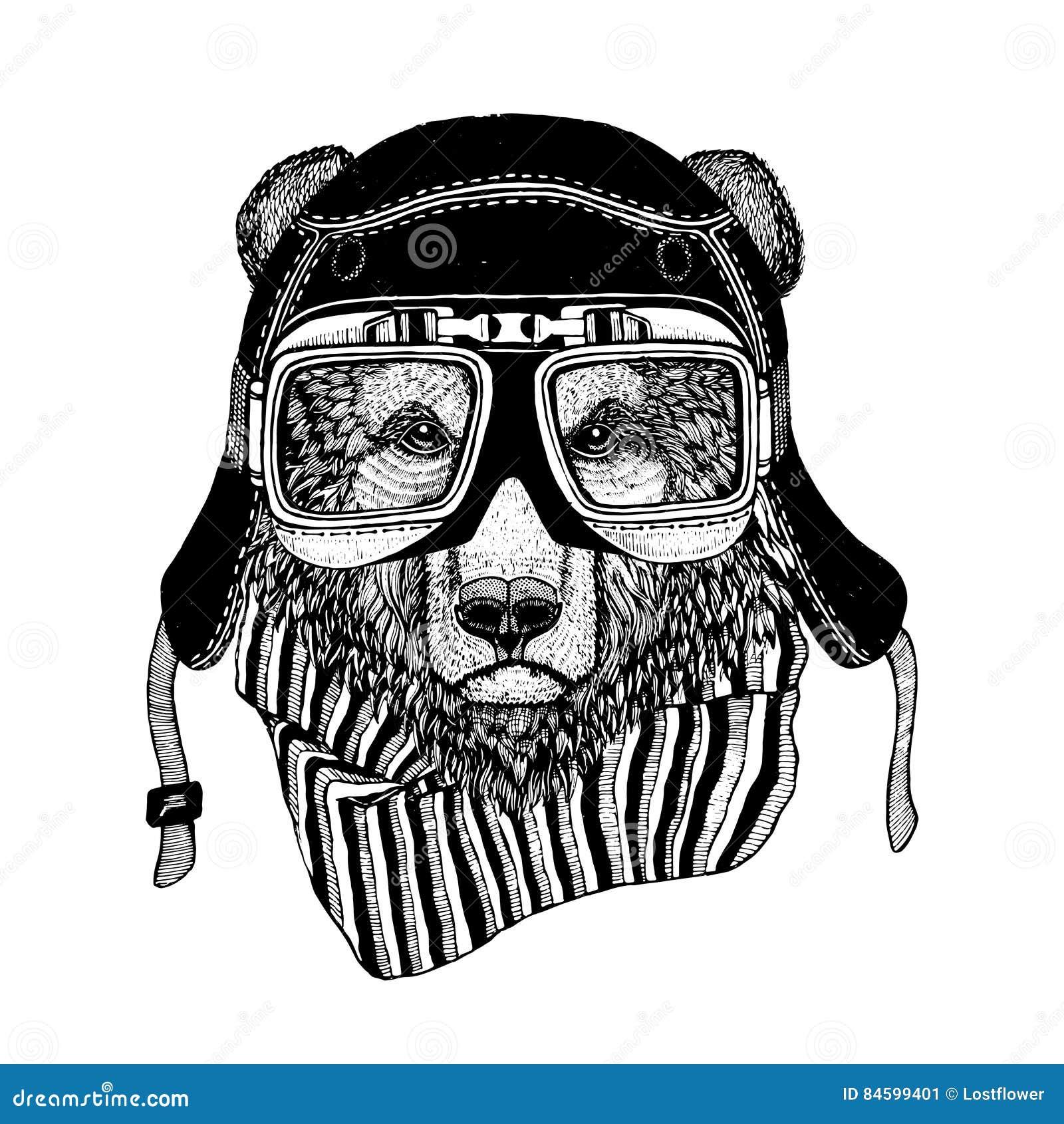 Weinlese-Bild des Bären für T-Shirt Design für Motorrad, Fahrrad, Motorrad, Rollerclub, aero Club