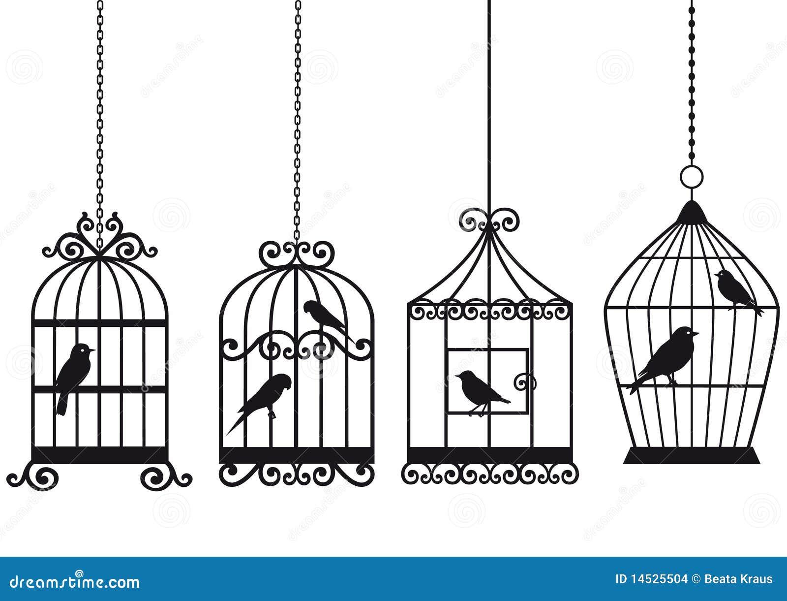 Weinlese Birdcages mit Vögeln