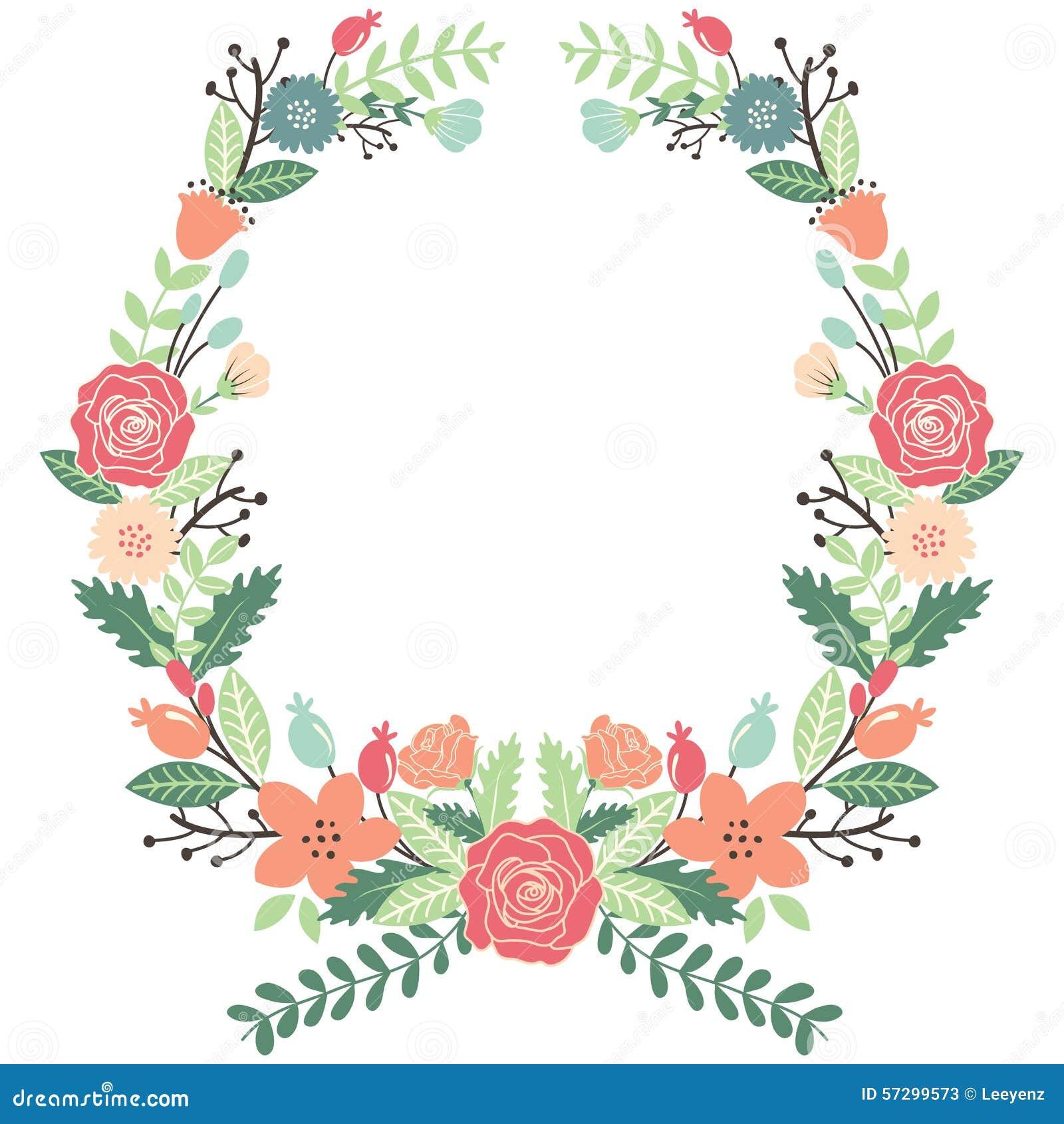 Weinlese-Blumen-Kranz Vektor Abbildung - Bild: 57299573