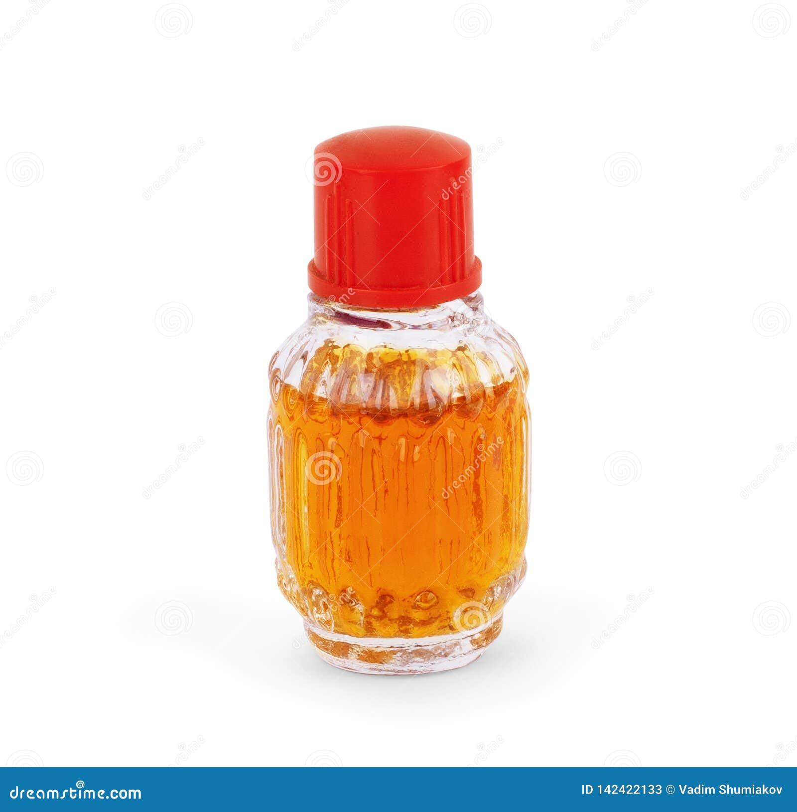 Weinlese, die alte Mode-Glas-Flaschen von aromatischem arabischem Oud Parfüm mit Crystal Clear Ball Shape Dropper ölt, lokalisier
