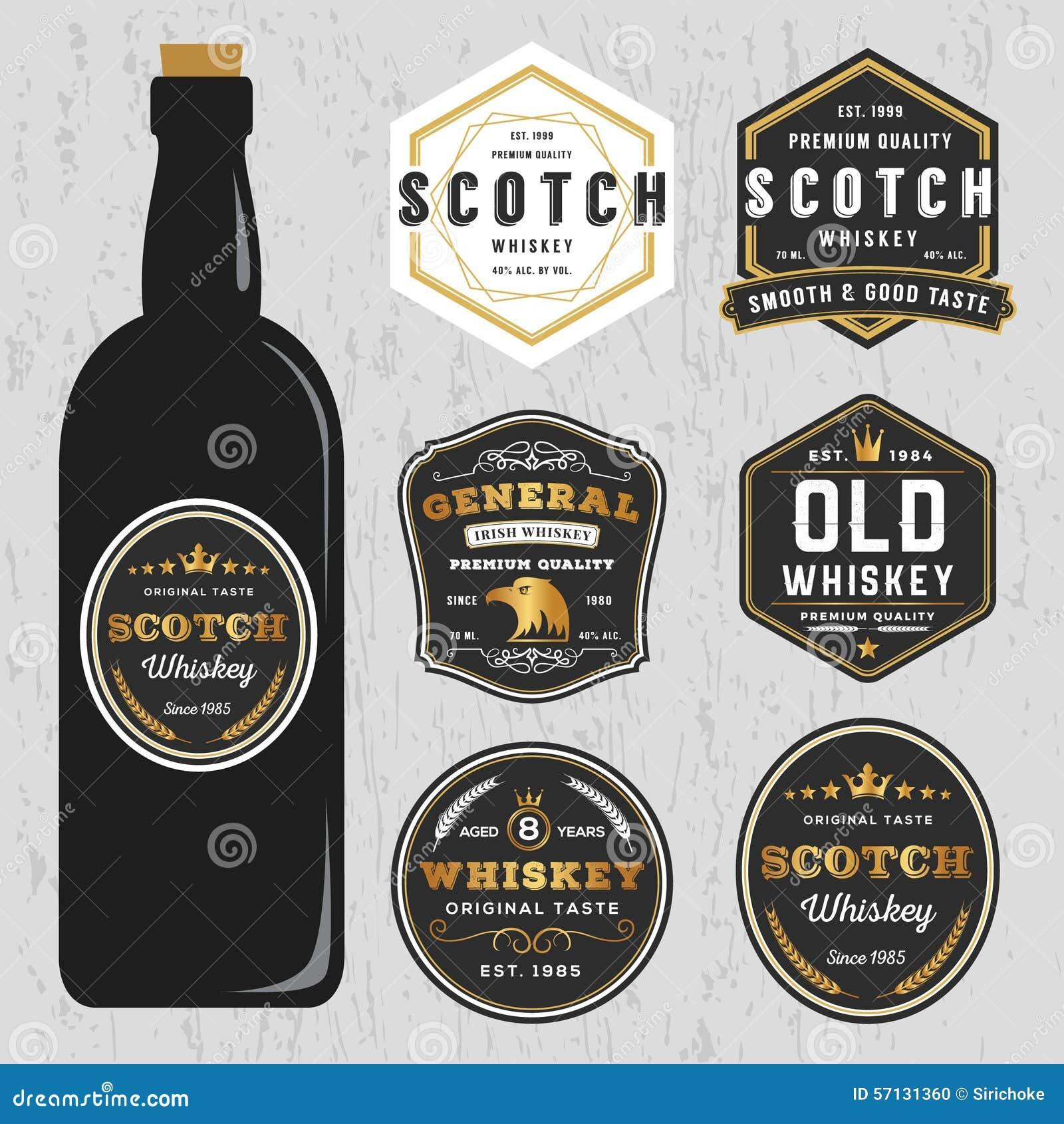 Weinlese-erstklassige Whisky-Marken-Aufkleber-Design-Schablone ...