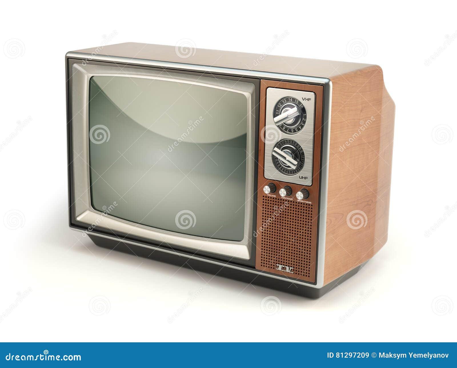 Fernseher Hintergrund weinlese-fernseher auf weißem hintergrund kommunikation, medi stock