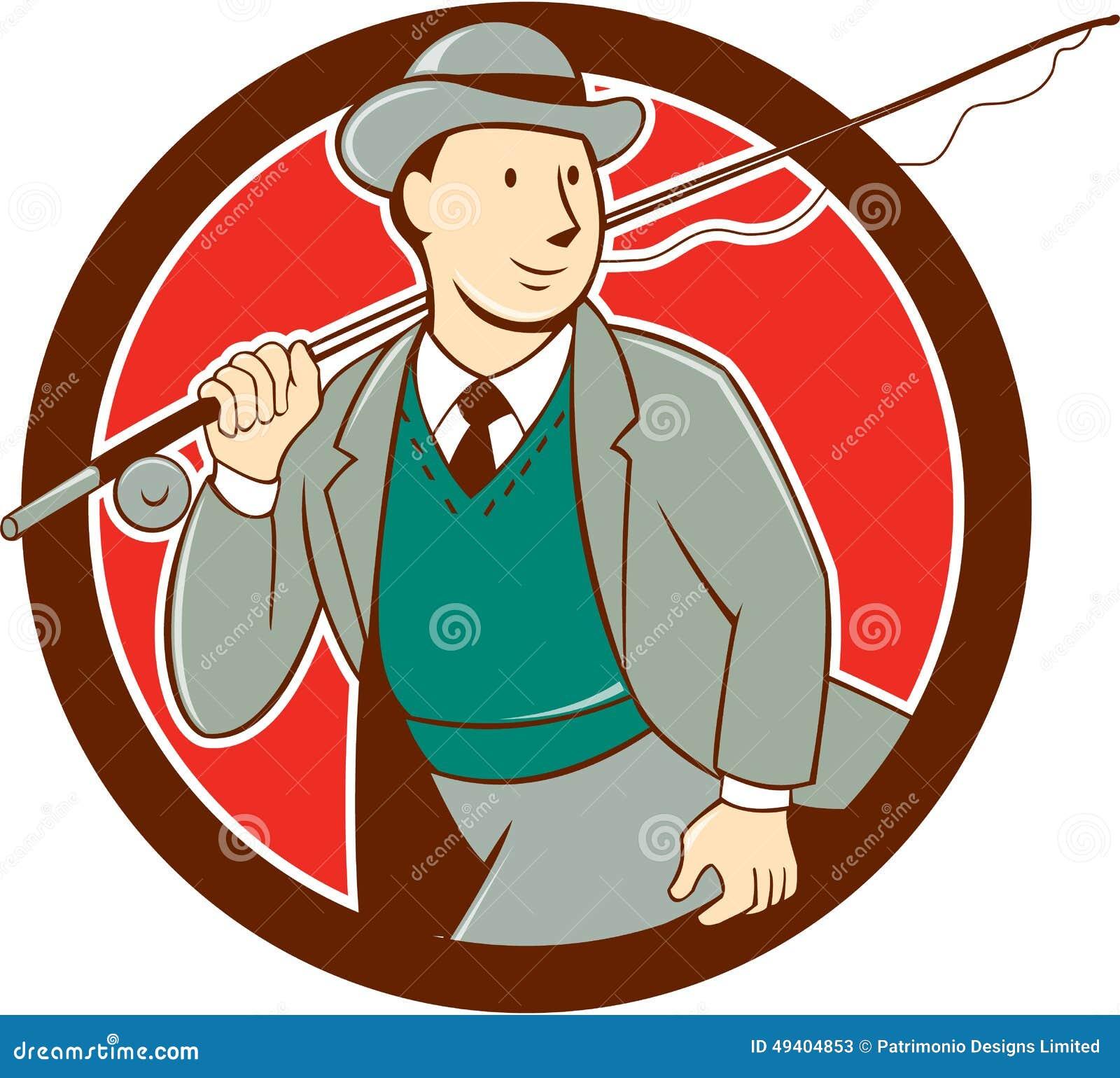 Download Weinlese-Fliegen-Fischer Bowler Hat Cartoon Stock Abbildung - Illustration von gestänge, bandspule: 49404853