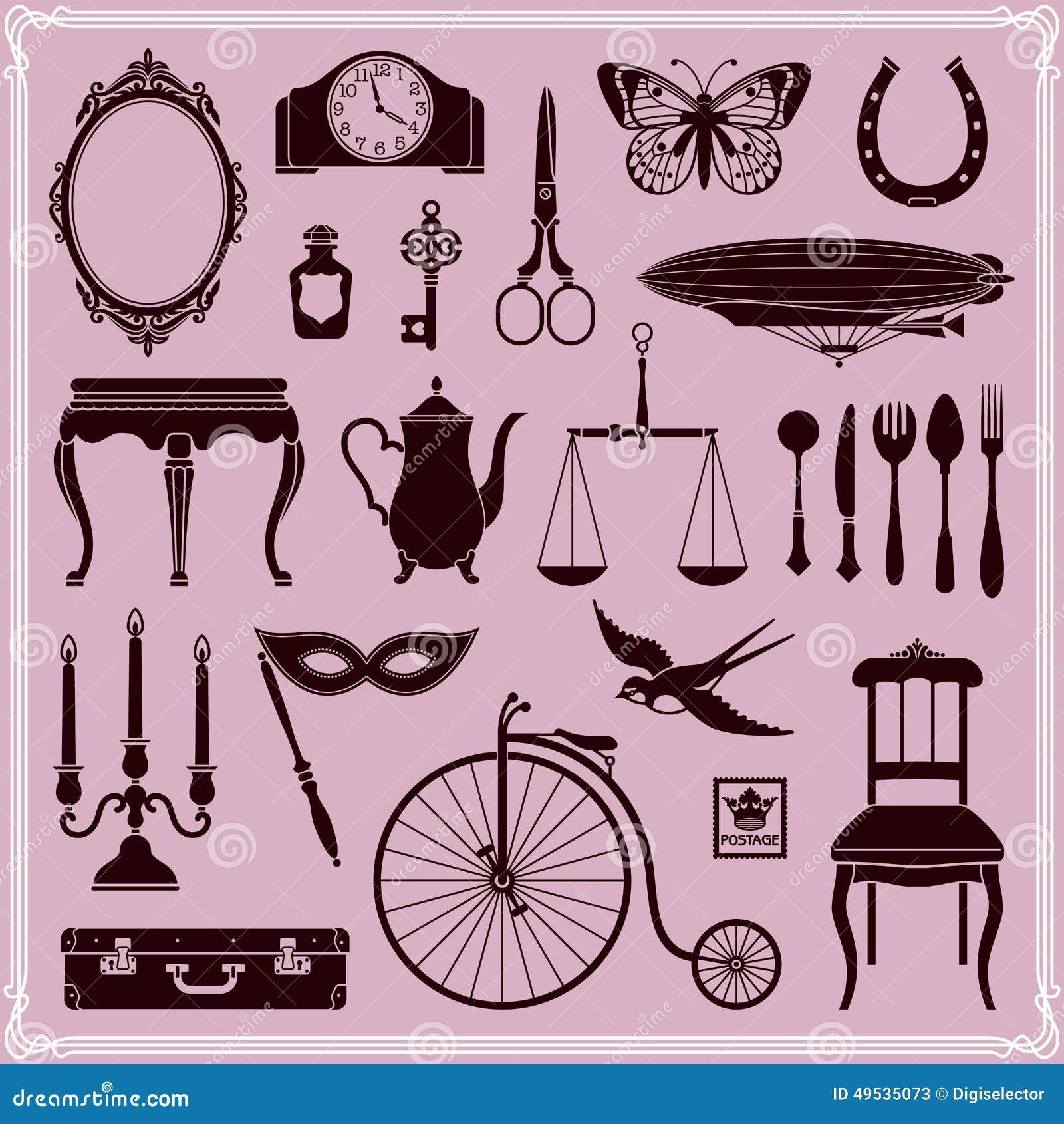 Weinlese-Gegenstände und Ikonen stellten 2 ein