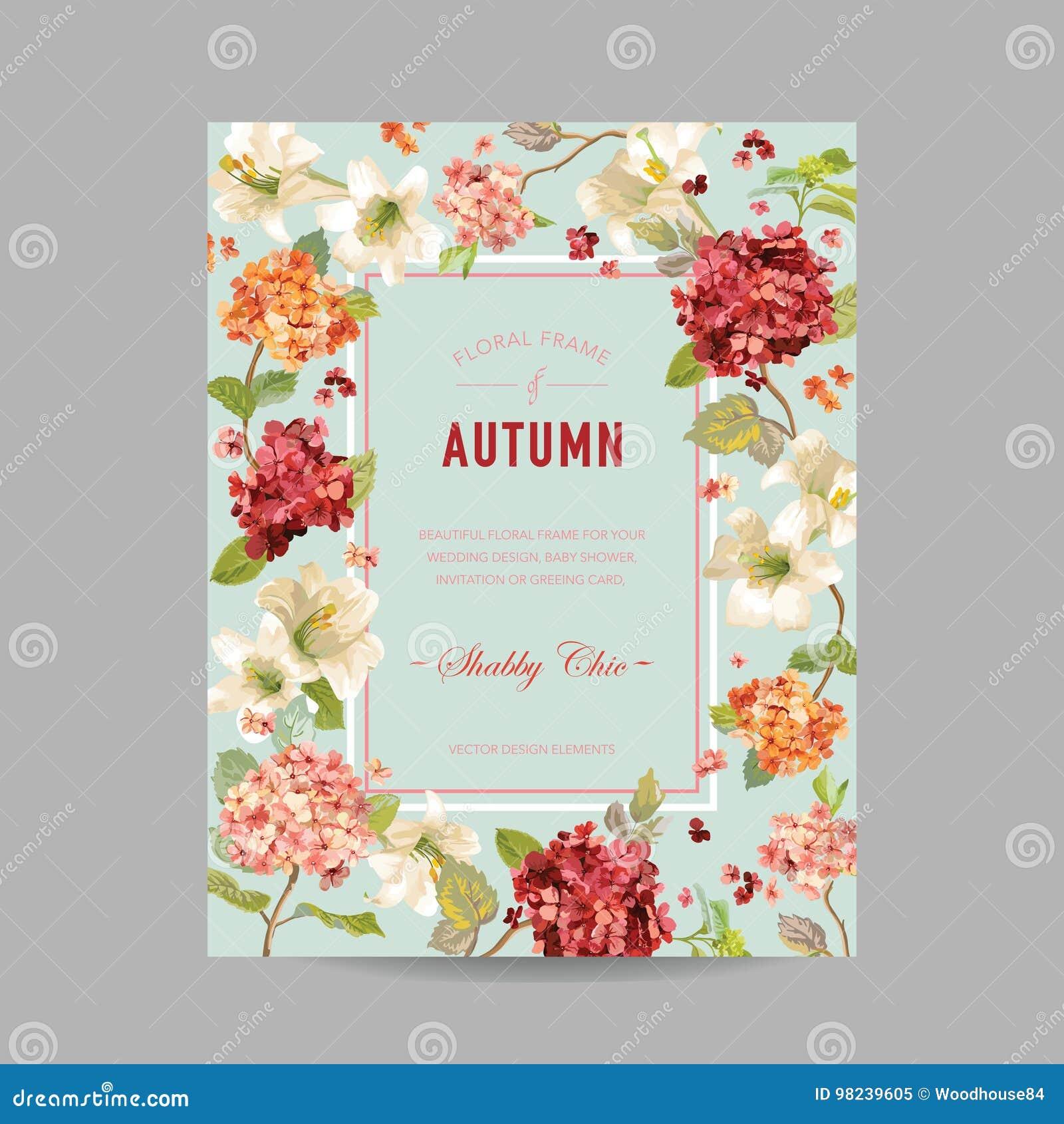 Weinlese-Herbst-und Sommer-Blumenrahmen Aquarell Hortensia Flowers ...