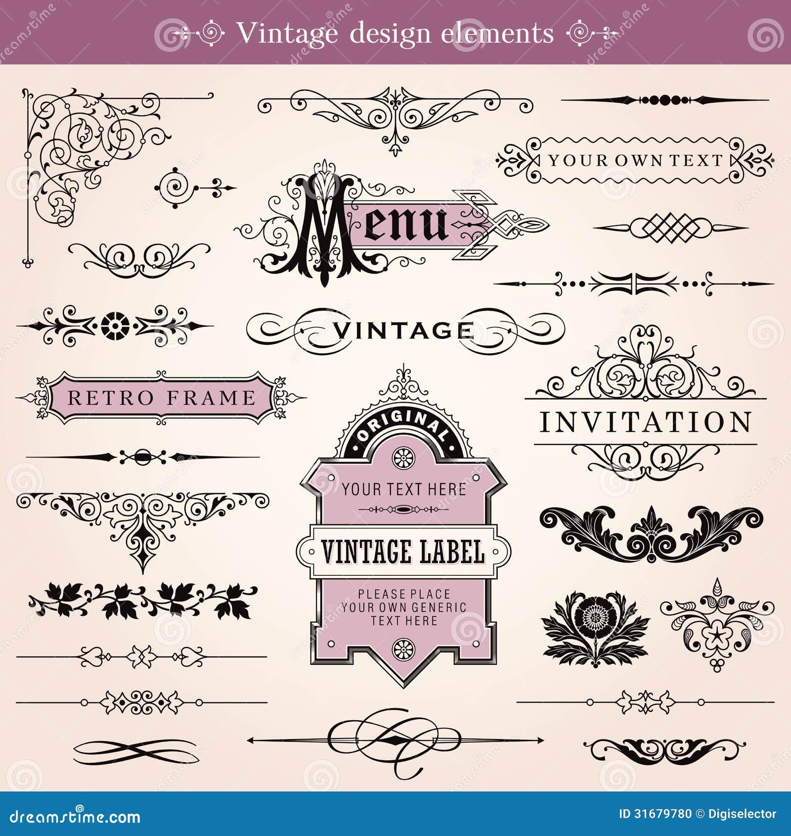 Weinlese-kalligraphische Gestaltungselemente und Seiten-Dekoration
