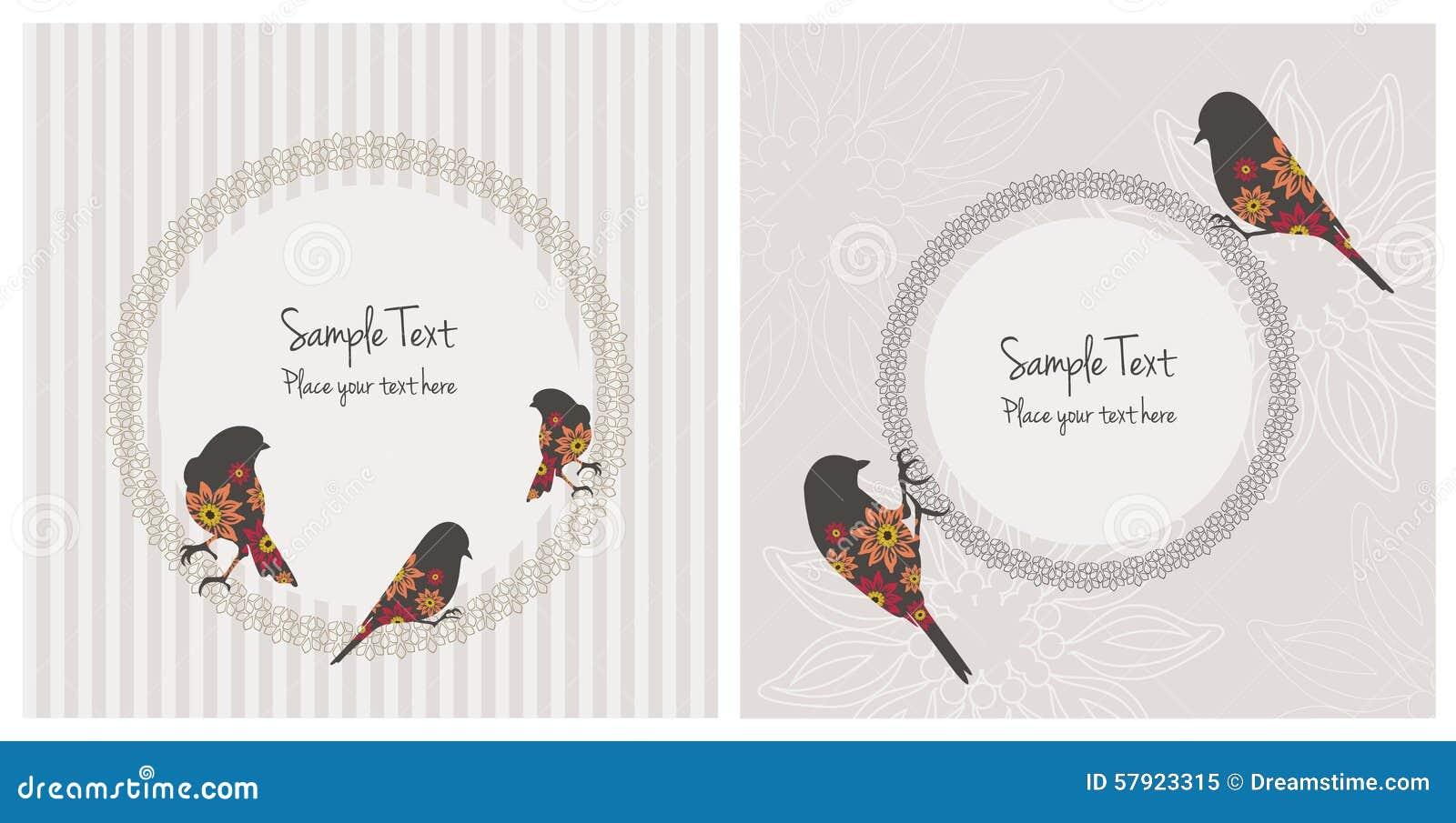 Weinlese-Karten mit Vögeln und Blumen