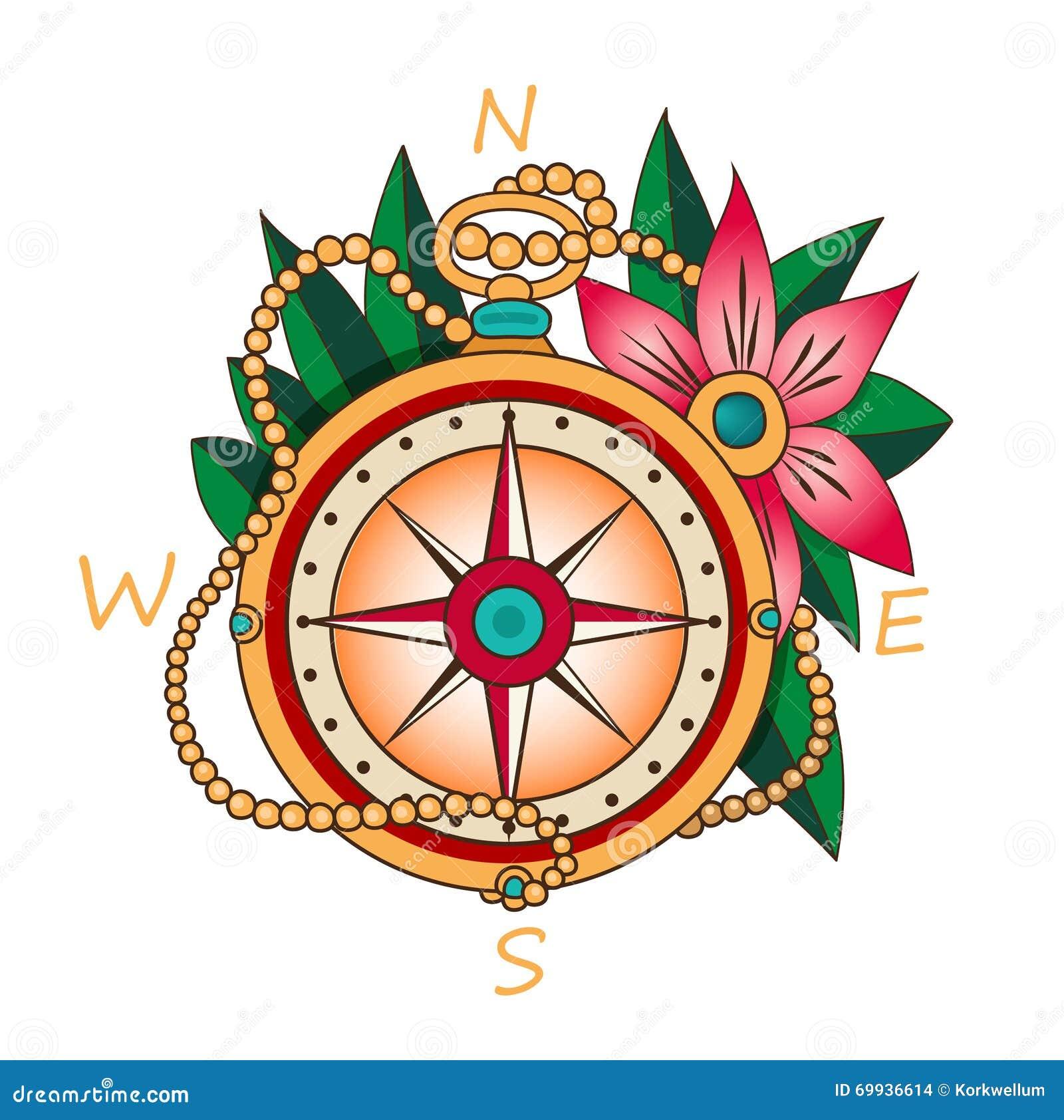 Weinlese-Kompass Mit Blumen Und Blättern Ferien Und Tourismus-Ikone ...