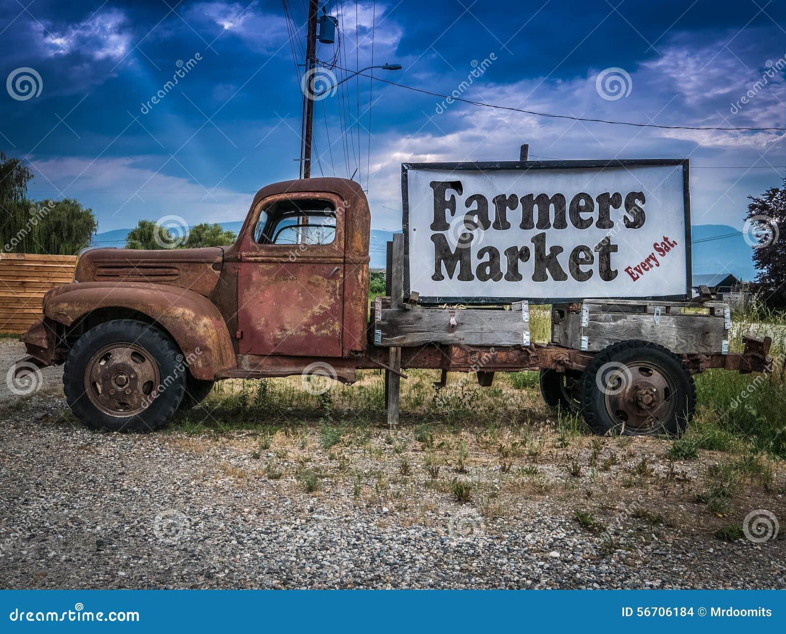 Weinlese-LKW-Landwirt-Markt-Zeichen