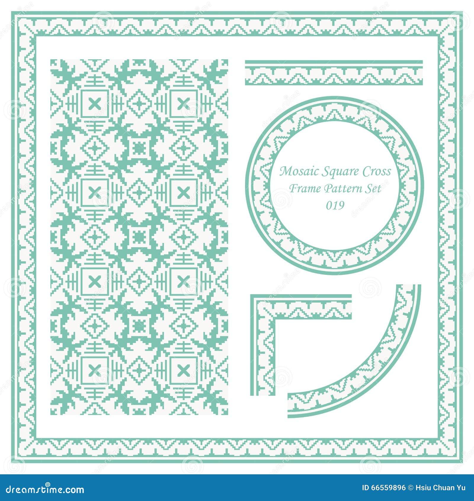 Weinlese-Rahmen-Muster Stellte Das 019 Mosaik-quadratische Kreuz Ein ...