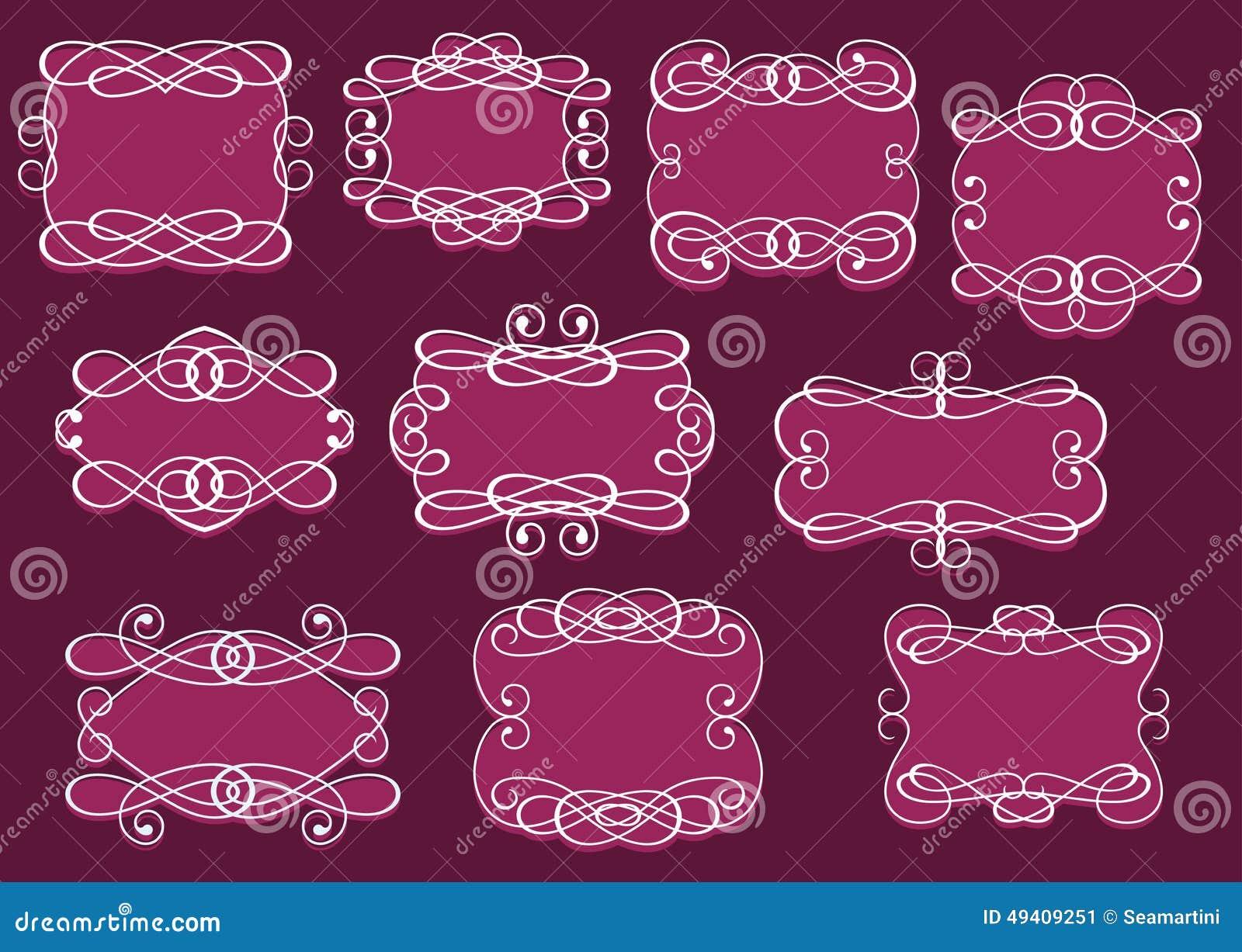 Download Weinlese Rahmen Oder Cartouches Eingestellt Vektor Abbildung - Illustration von graphik, romantisch: 49409251