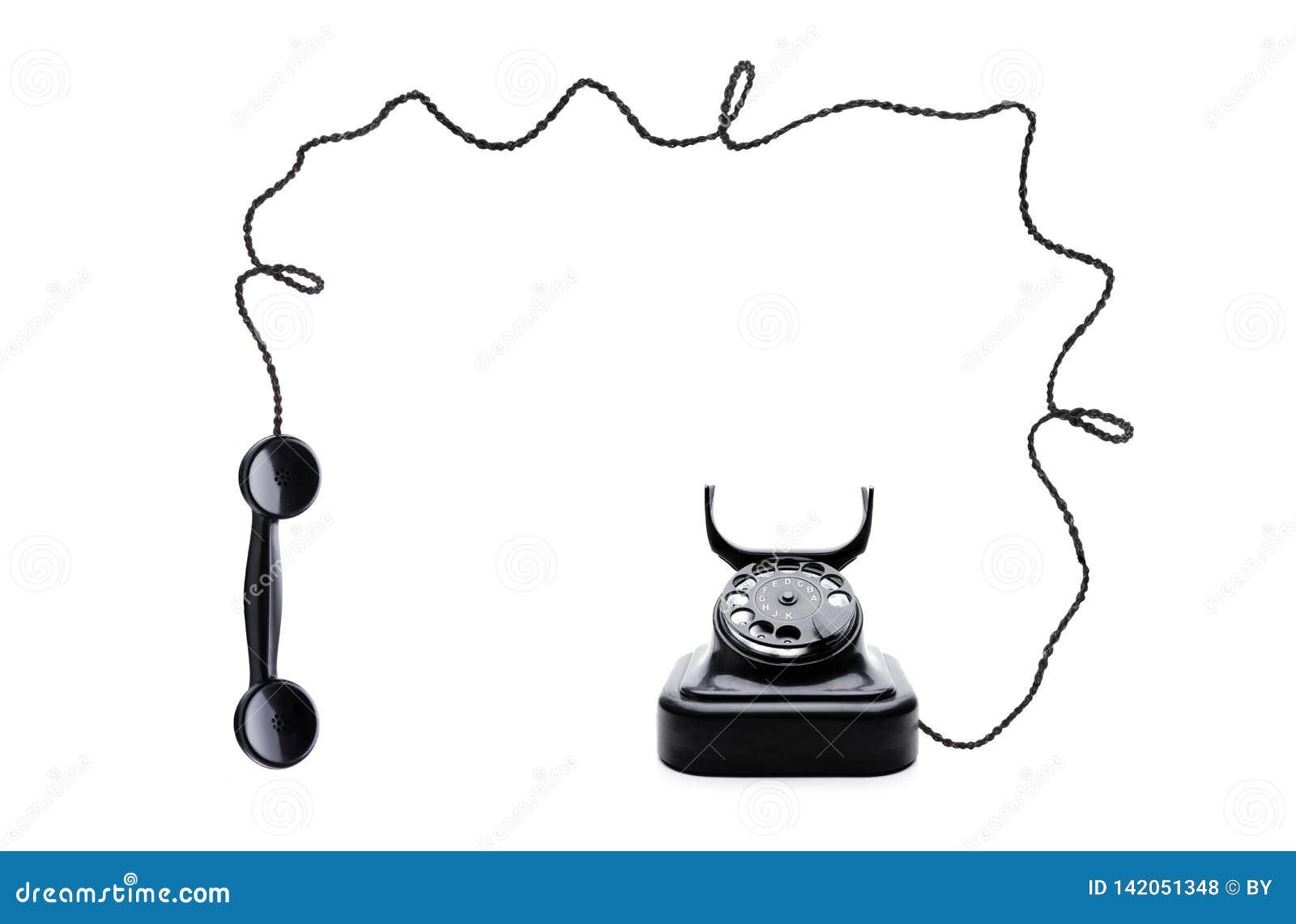 Weinlese-Schwarz-Telefon lokalisierte