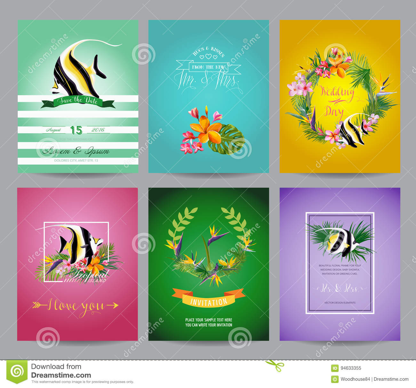 Weinlese Tropische Fische Und Exotischer Blumen Karten Satz Für Geburtstag,  Hochzeit, Babyparty, Partei
