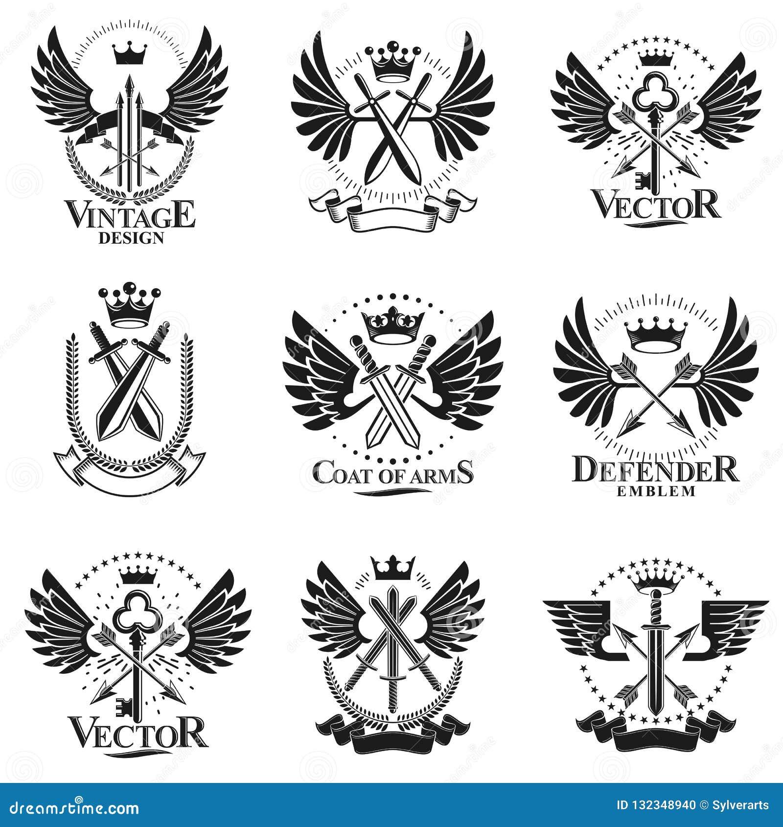 Weinlese-Waffen-Embleme eingestellt Heraldische Zeichenvektor-Weinlese elemen