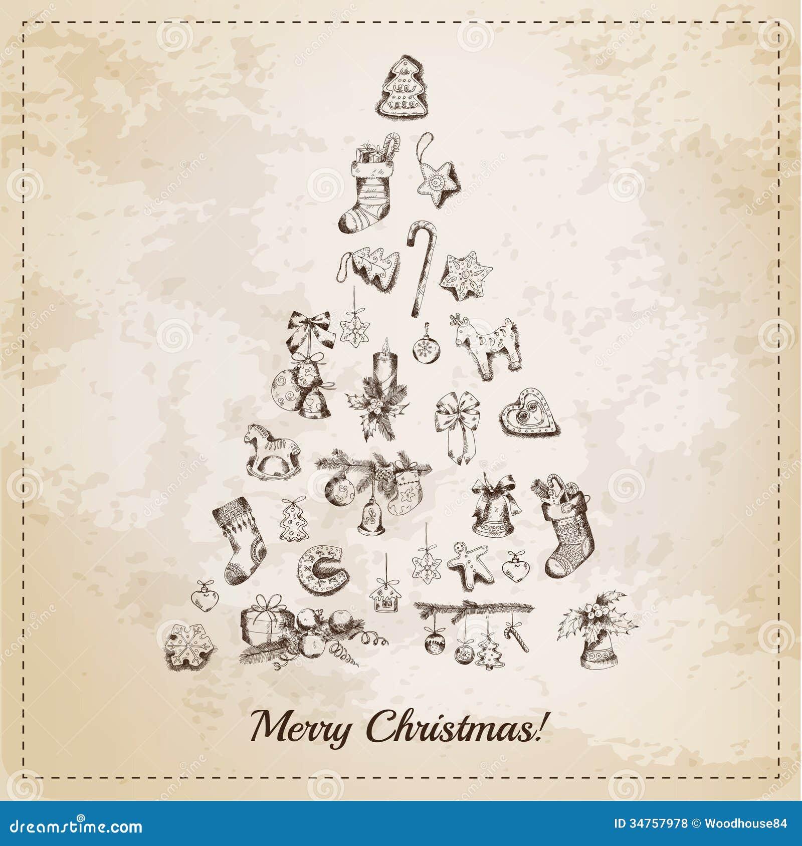 weinlese weihnachtsbaum karte lizenzfreie stockfotos. Black Bedroom Furniture Sets. Home Design Ideas