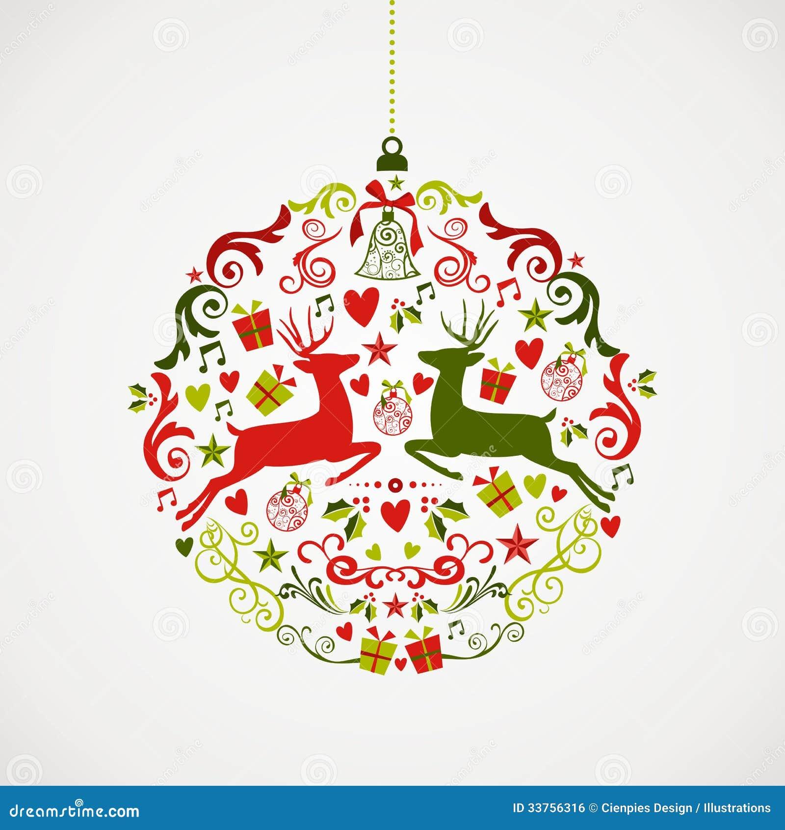 Weinlese-Weihnachtselementflitter-Entwurf EPS10 fil