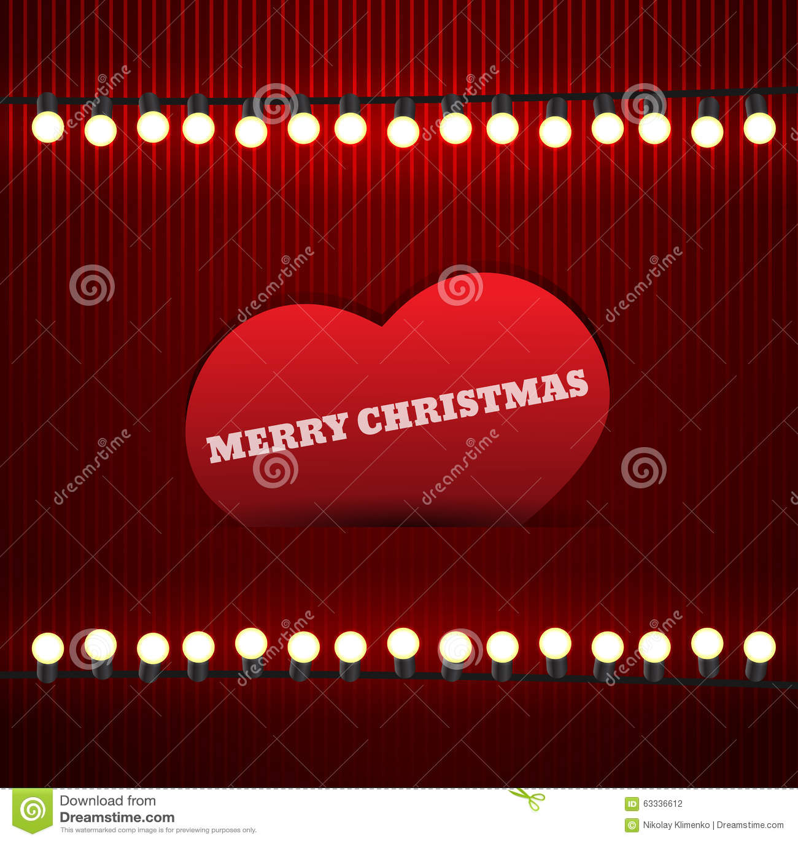 Weinlese-Weihnachtskarte mit Girlande und Herzen Illustration ENV