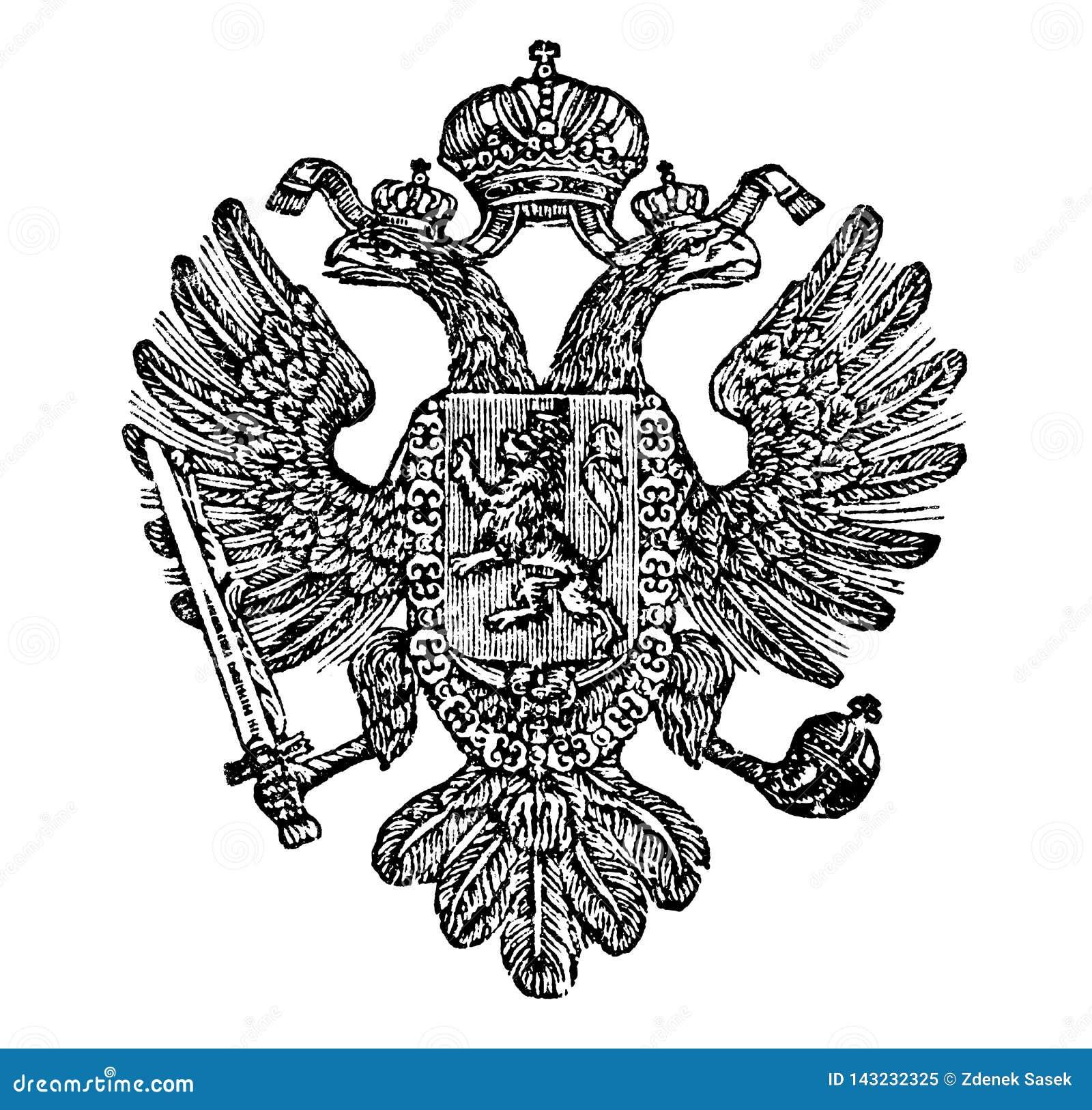 Weinlese-Zeichnung des Wappens des Königreiches von Böhmen als Teil des österreichischen Reiches
