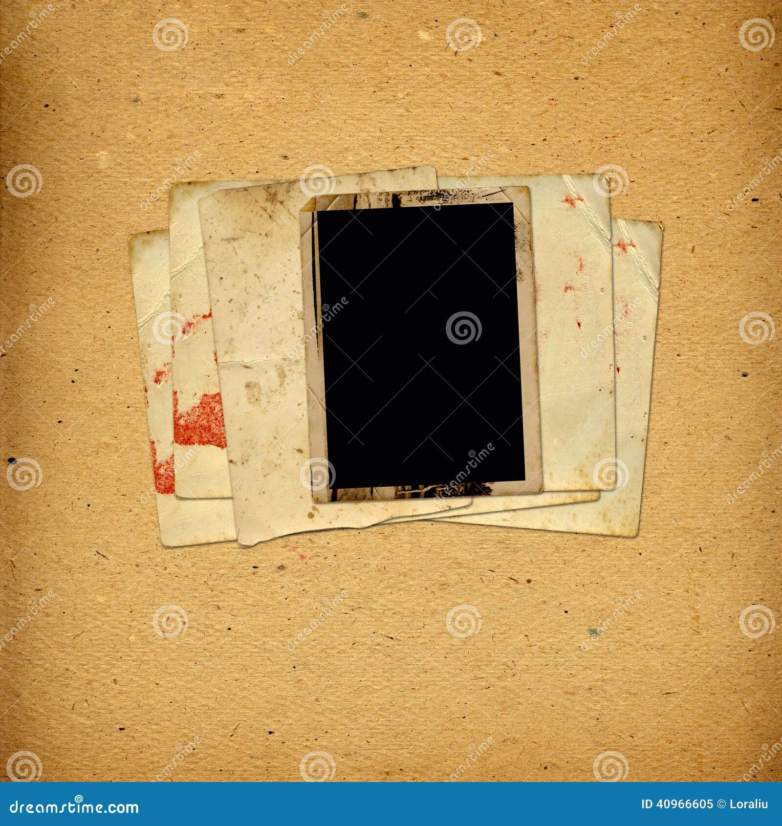 Weinlesealbum Mit Papierrahmen Für Fotos Stockbild - Bild von ...