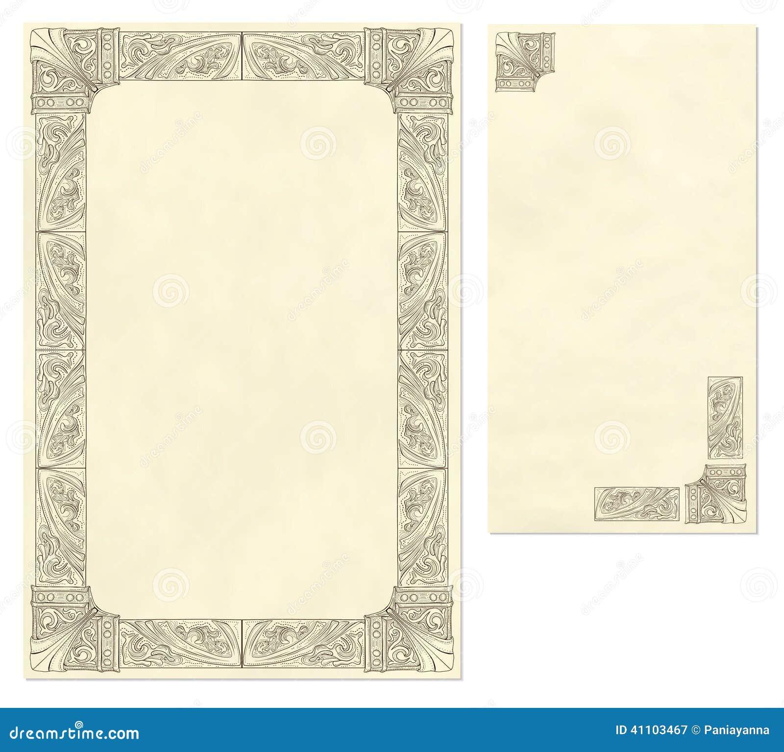 WeinleseBriefpapier und Umschlag