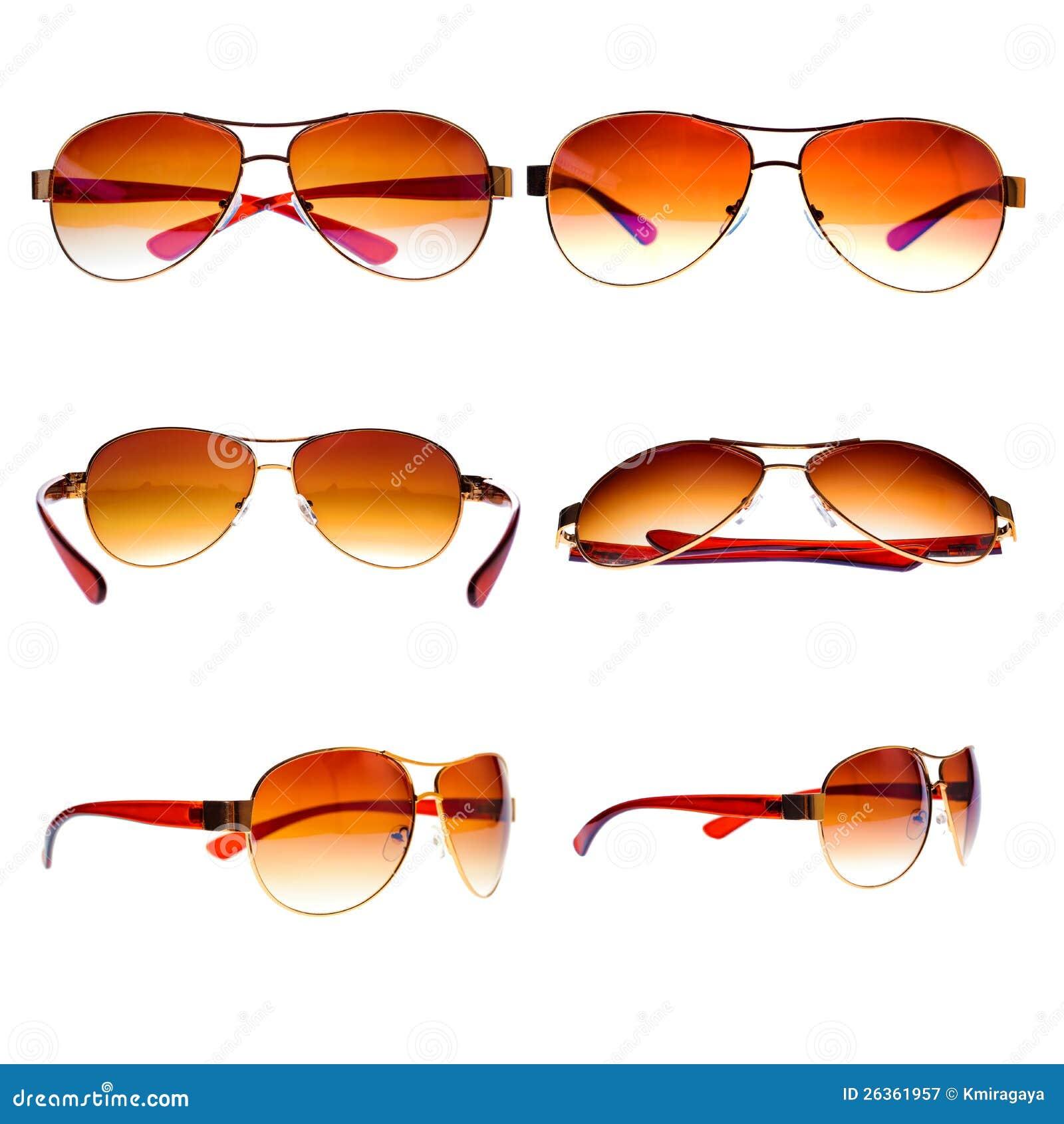 Weinlesefliegersonnenbrillen getrennt auf Weiß
