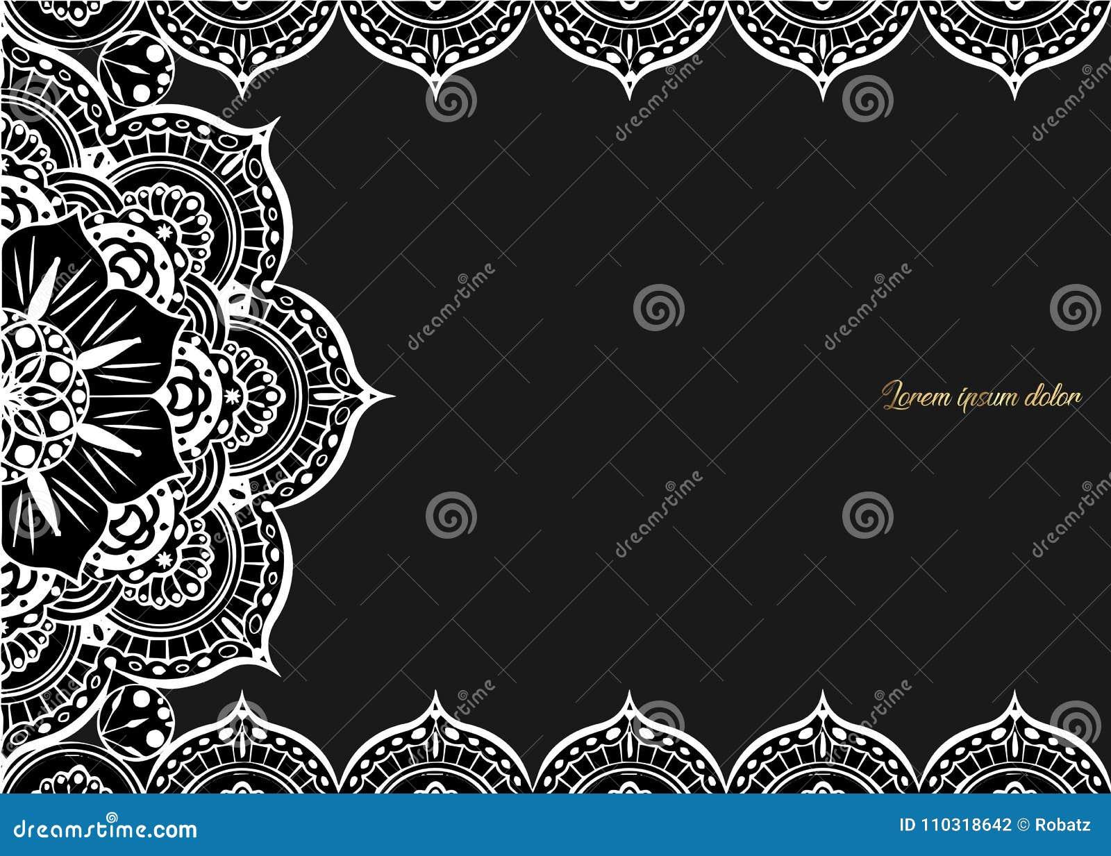 Weinlesegrußkarte auf einem schwarzen Hintergrund Luxusverzierungsschablone Groß für Einladung, Flieger, Menü, Broschüre, postcar