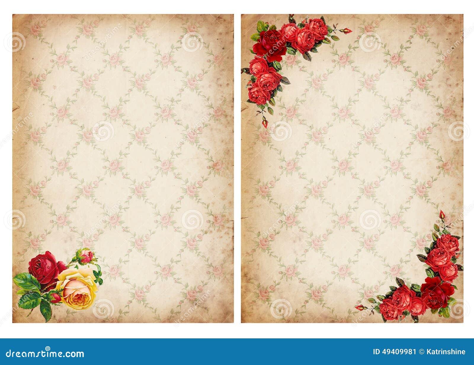 Download Weinlesehintergründe Mit Rosen Stockbild - Bild von garten, ecru: 49409981