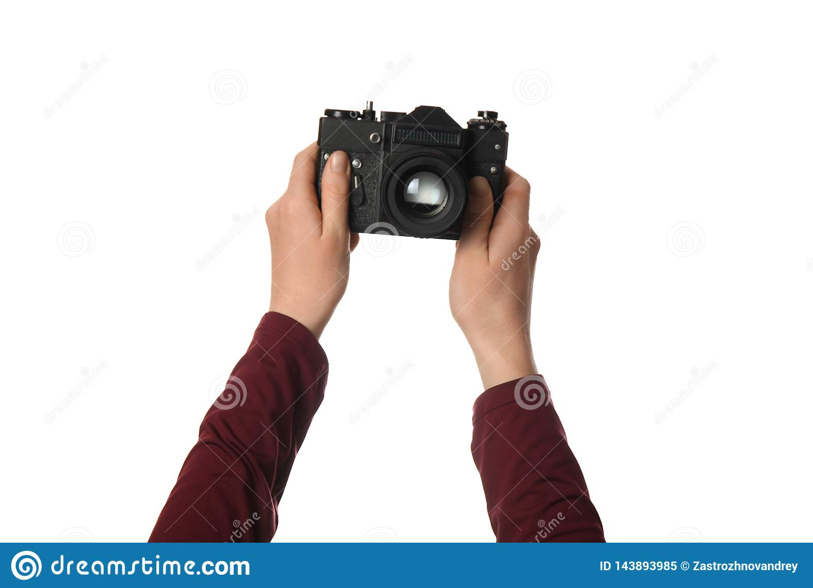 Weinlesekamera in der Hand lokalisiert auf wei?em Hintergrund E