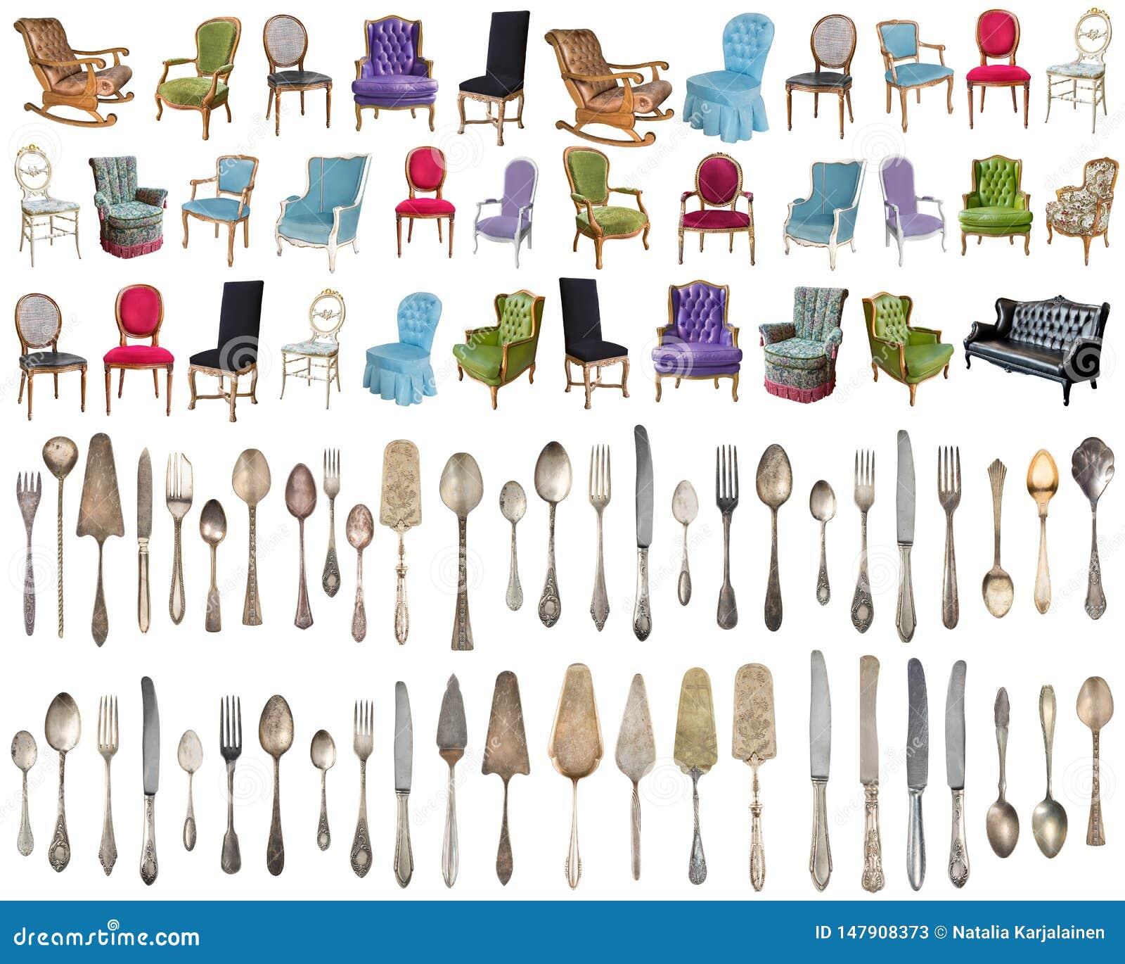 Weinleselehnsessel und Tafelsilber, antike Löffel, Gabeln, Messer, Schöpflöffel, Kuchenschaufeln lokalisiert auf lokalisiertem we