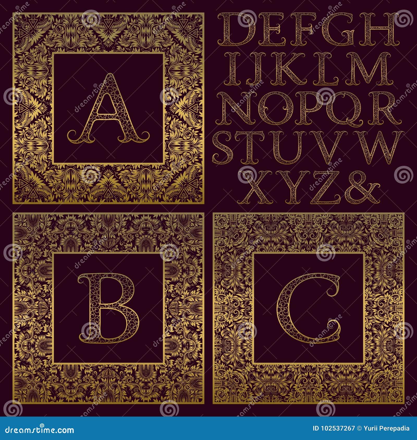 Weinlesemonogrammausrüstung Goldene Kopierte Buchstaben Und ...