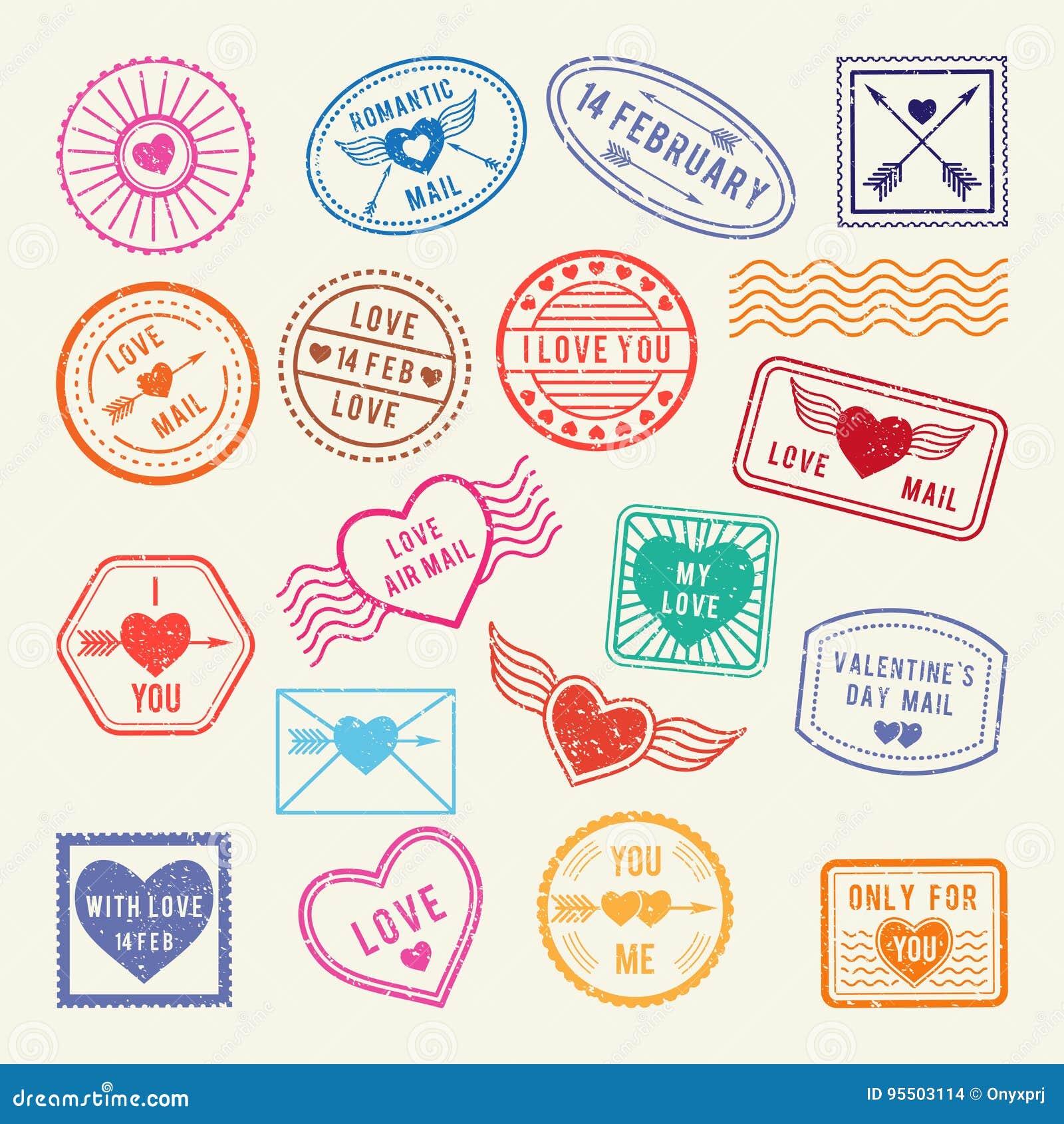 Weinleseromantische Poststempel Vector Liebeselemente für Einklebebuch oder Briefgestaltung