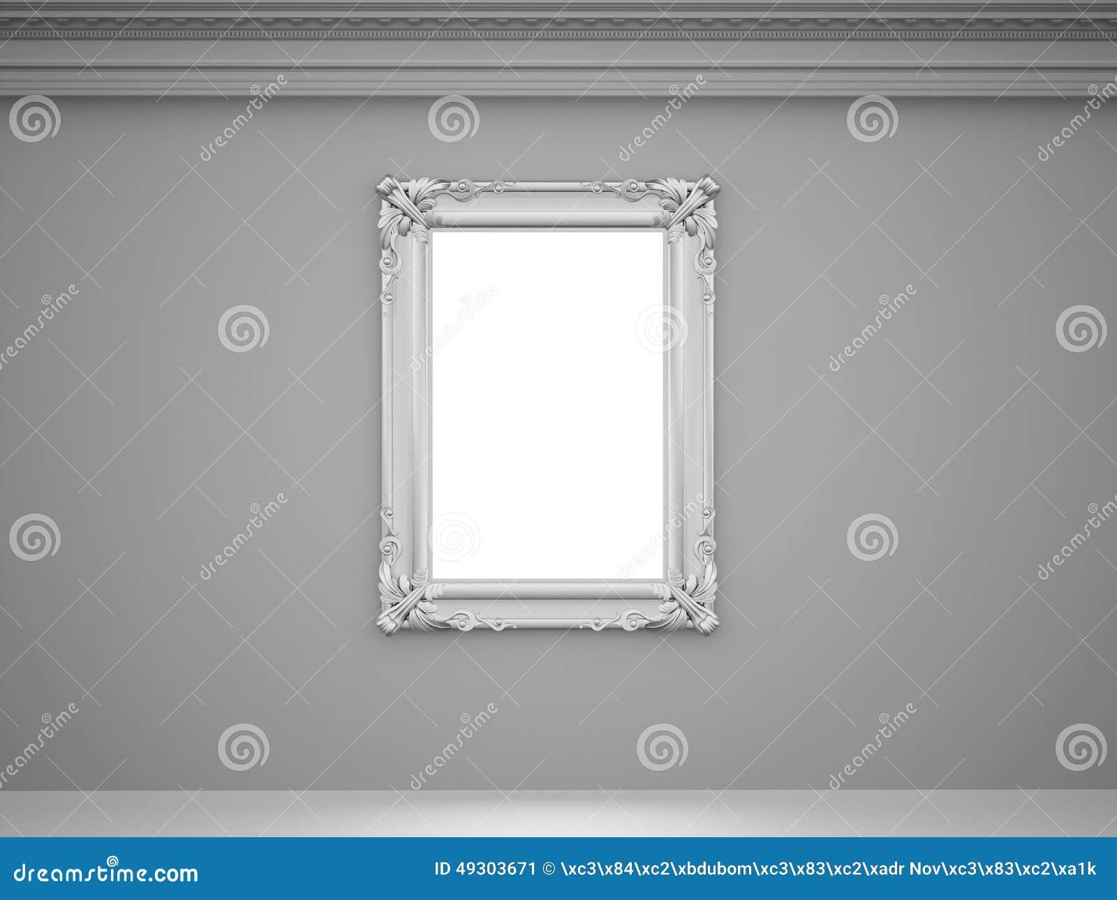 weinlesespiegel mit silbernem rahmen auf der wand stock abbildung bild 49303671. Black Bedroom Furniture Sets. Home Design Ideas