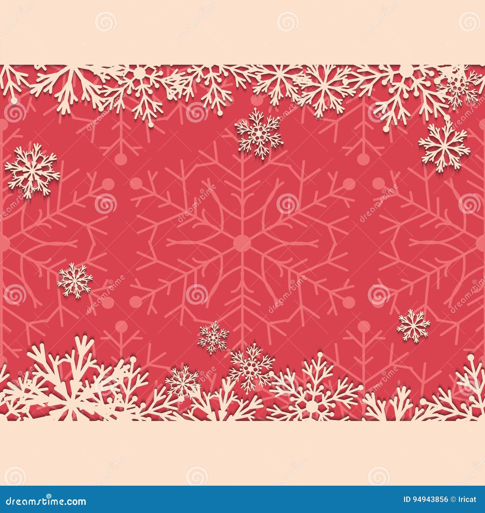 Weinleseweihnachtshintergrund Mit Schneeflocken Papierschneeflocken