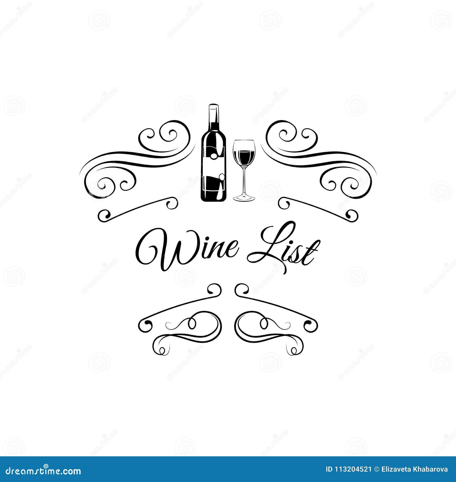 Weinliste Wein-Flaschenglas alcohol Bar, Restaurant, alkoholisches Getränk der Weinliste Vektor