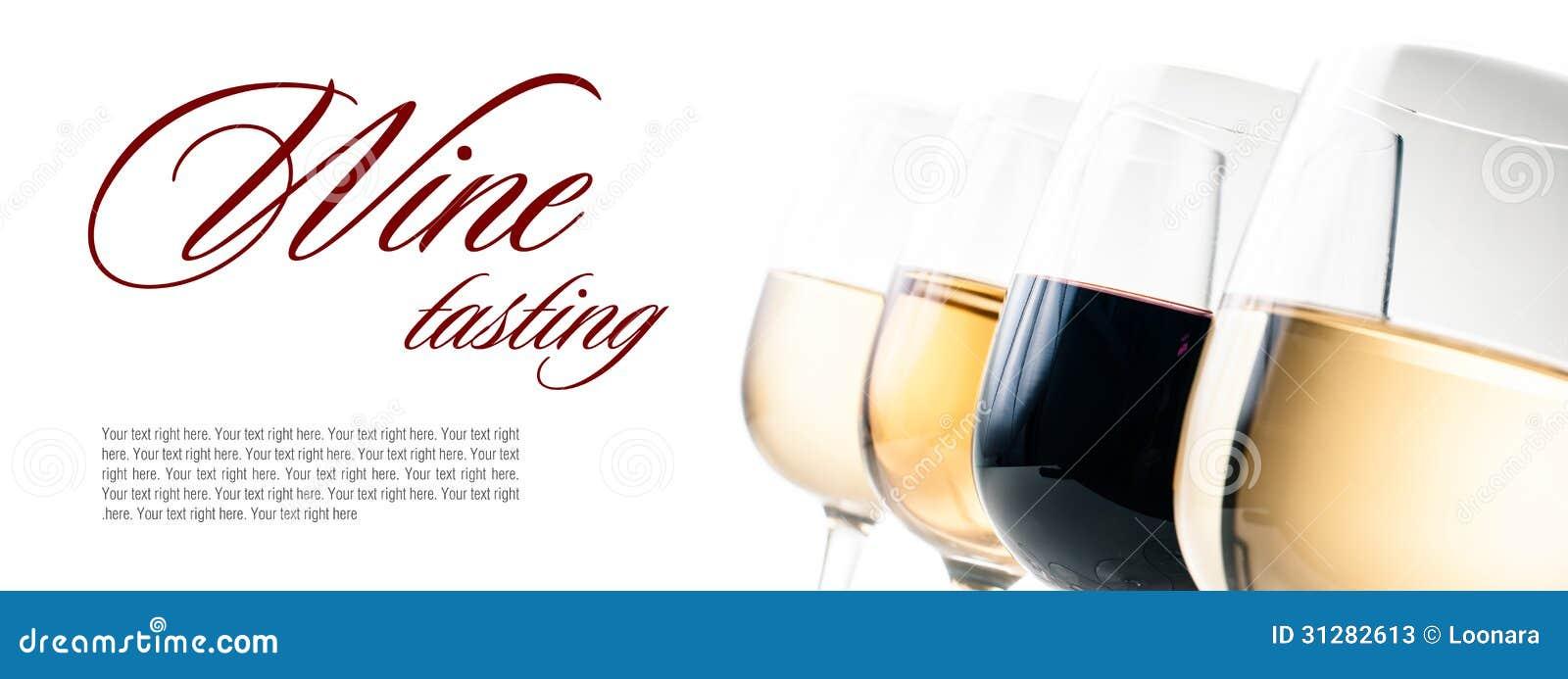 Weinprobe, einige Gläser Rot und Weißwein